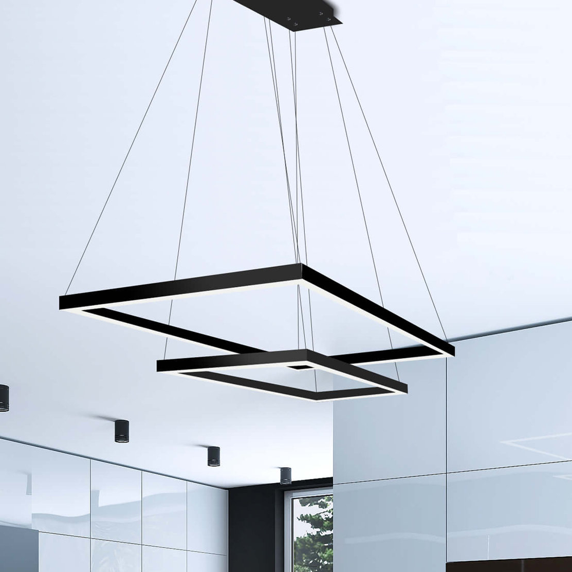 Black Square & Rectangular Chandeliers You'll Love In 2019 Intended For Most Recent Hewitt 4 Light Square Chandeliers (View 6 of 25)