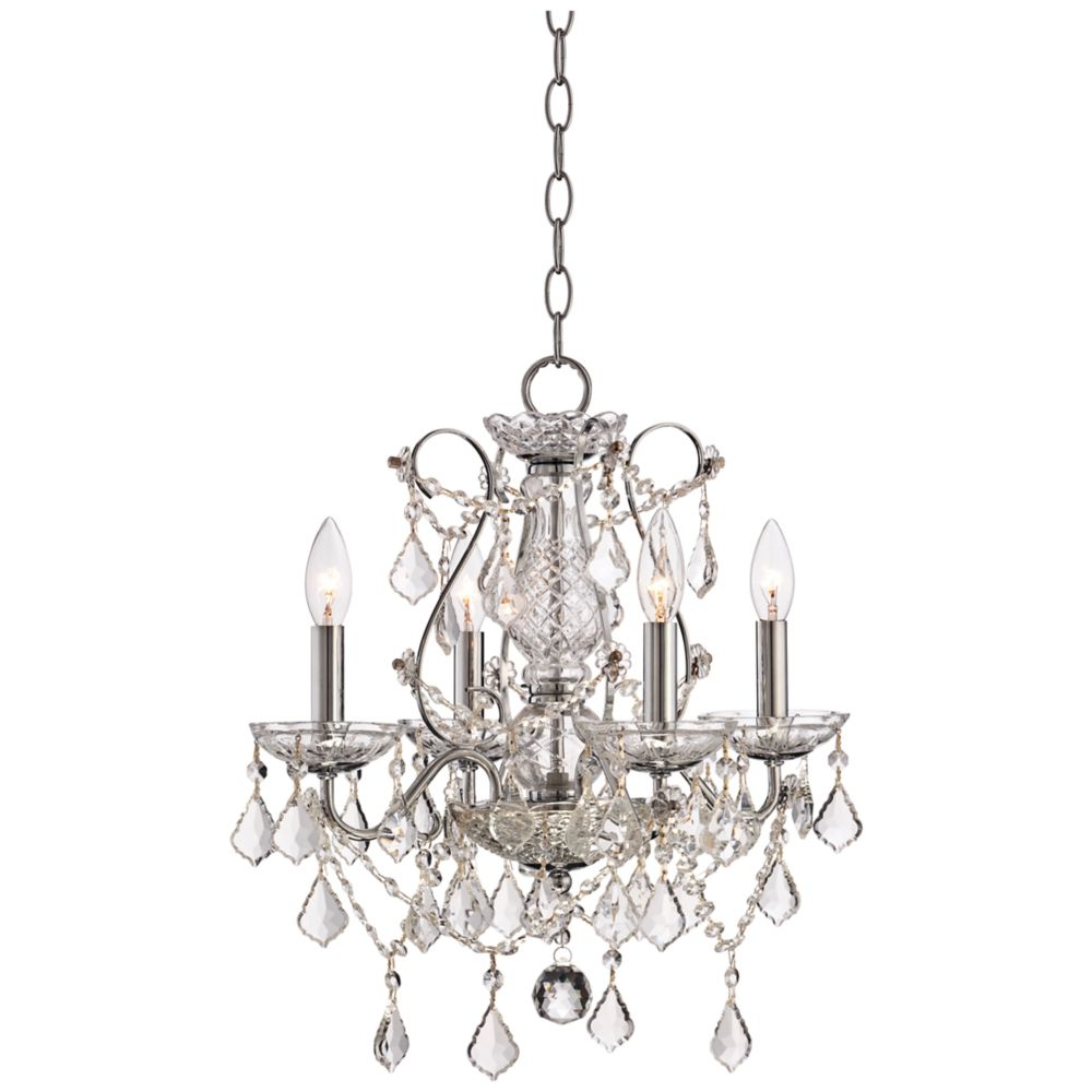 """Blanchette 5-Light Candle Style Chandeliers inside Famous Grace 17"""" Wide Chrome And Crystal 4-Light Chandelier - Style"""