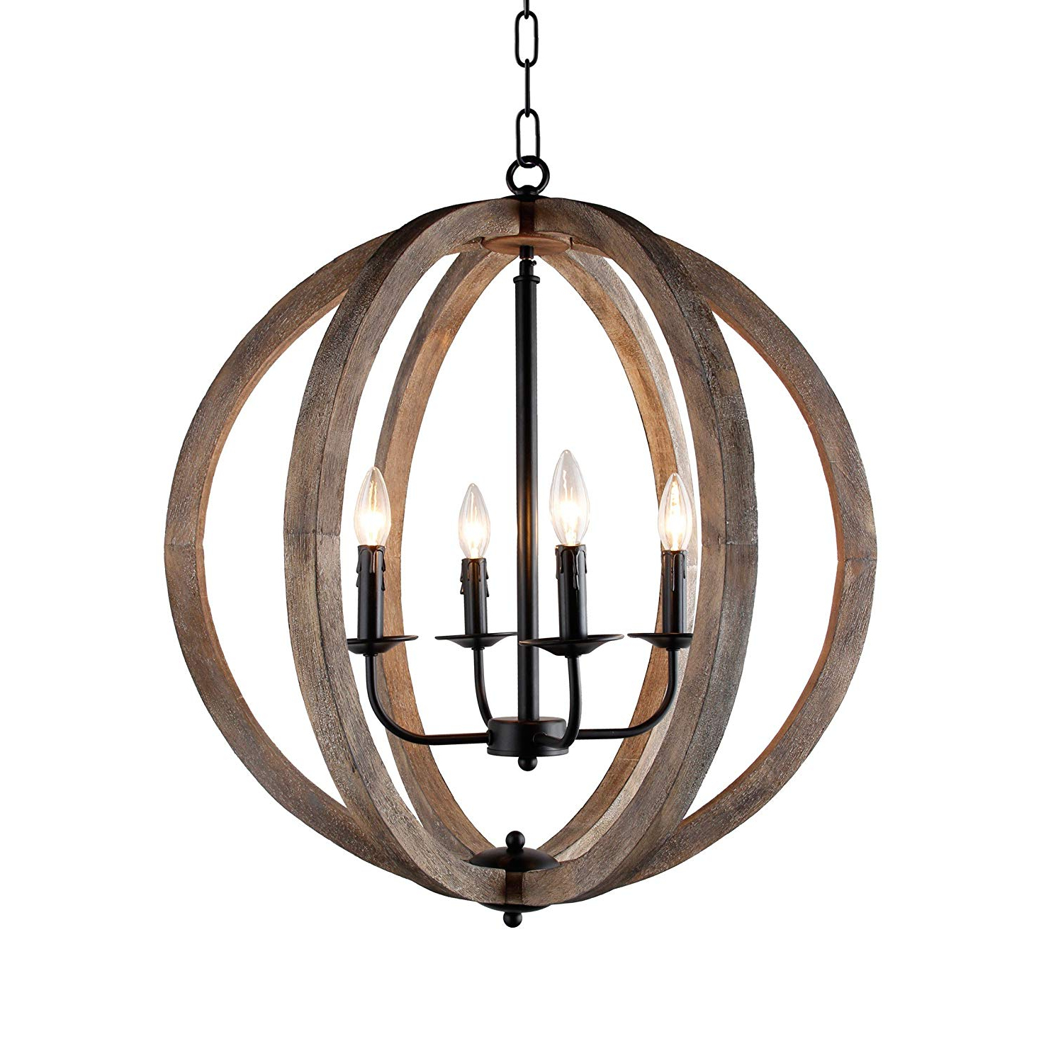 "Blanchette 5-Light Candle Style Chandeliers pertaining to Most Recently Released Stanton 4-Light Candle-Style Rustic Chandelier Wood Frame Orb Foyer  Chandelier 24.4"" H X 27.5"" W"