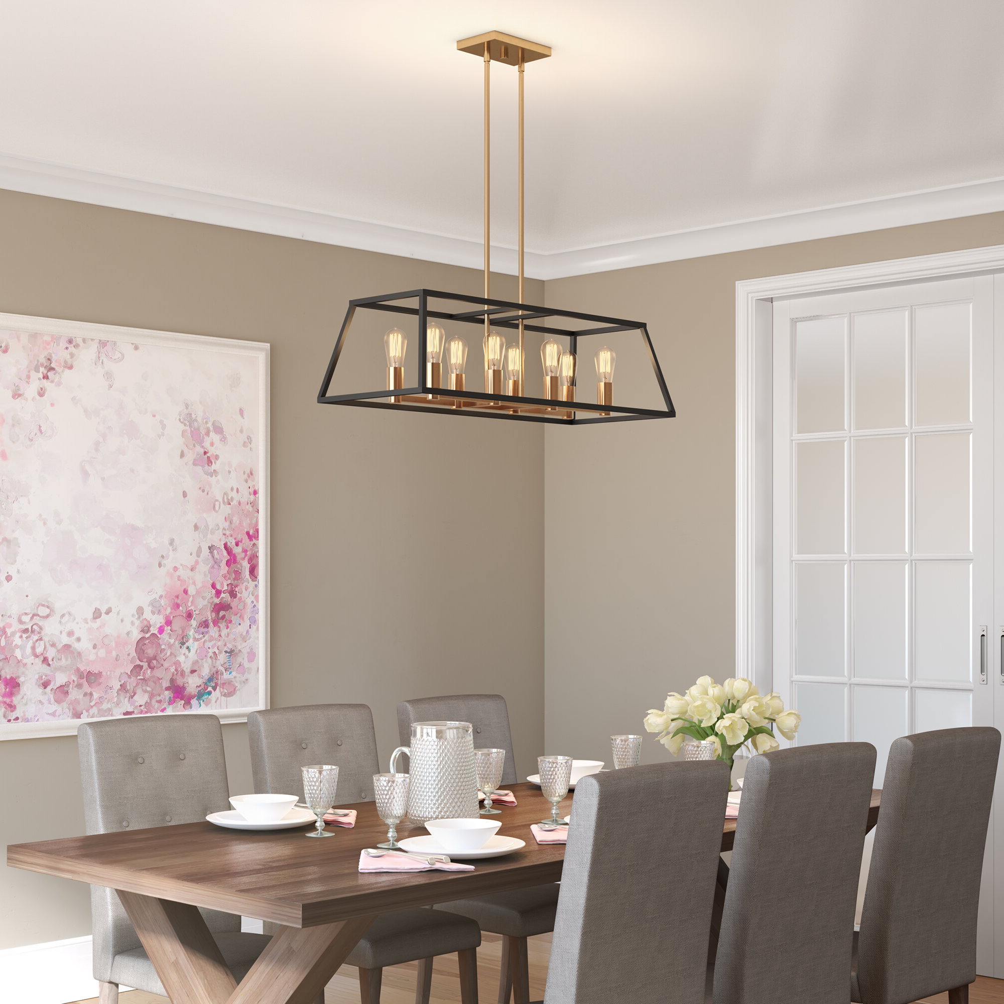 Bourgoin 8 Light Kitchen Island Pendant In Well Known Hinerman 5 Light Kitchen Island Pendants (View 11 of 25)
