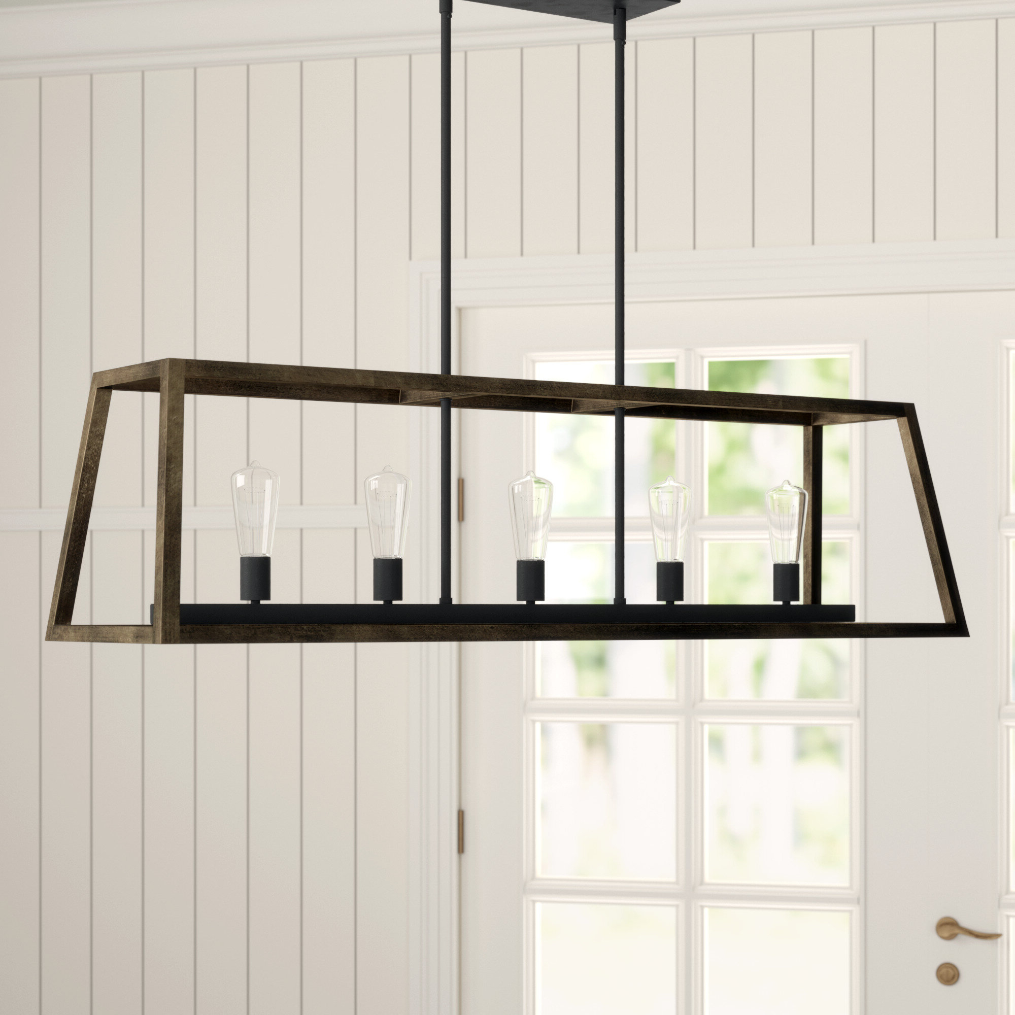 Bouvet 5-Light Kitchen Island Linear Pendants in Widely used Natarsha 5-Light Kitchen Island Linear Pendant