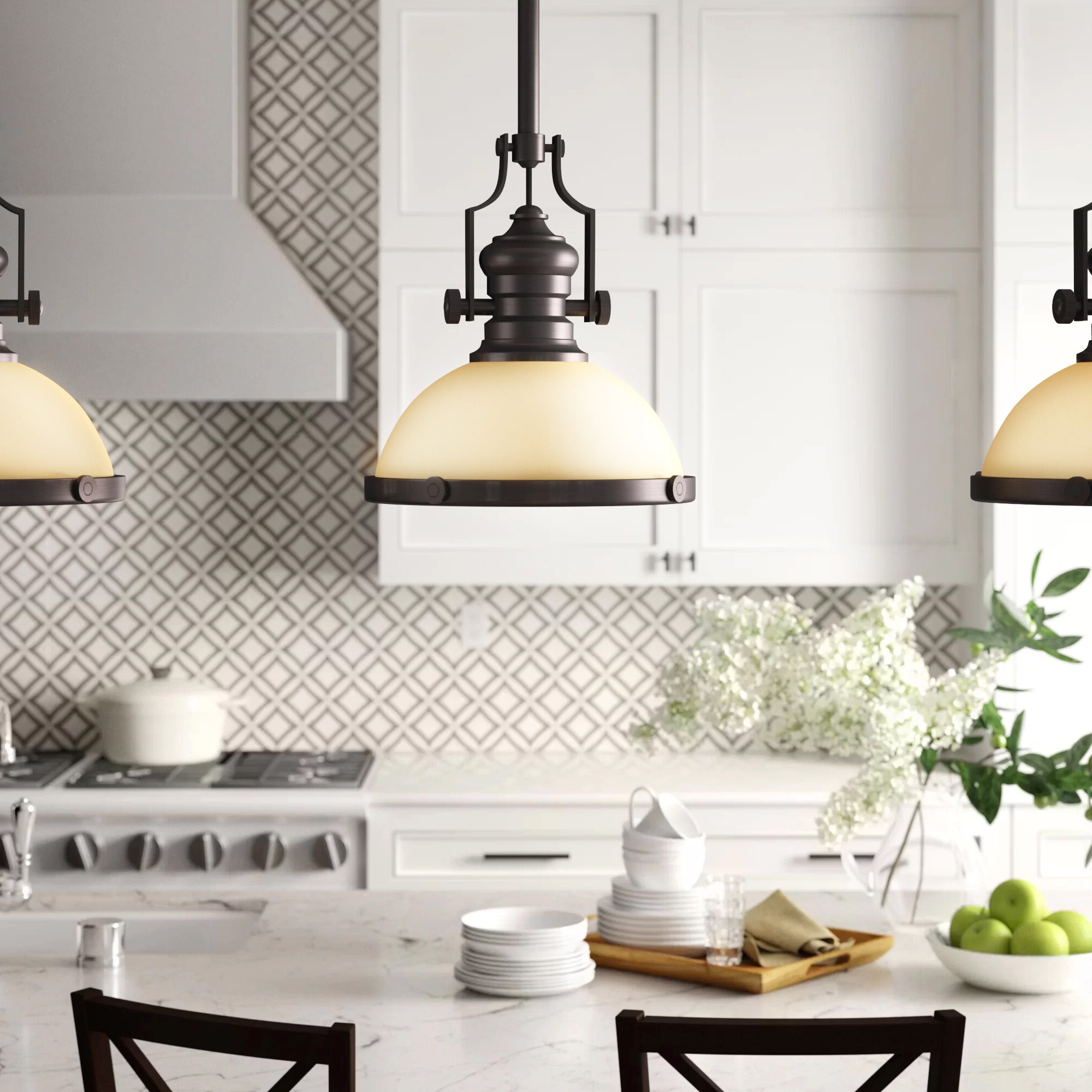 Breakwater Bay Priston 1-Light Single Dome Pendant with Current Ninette 1-Light Dome Pendants