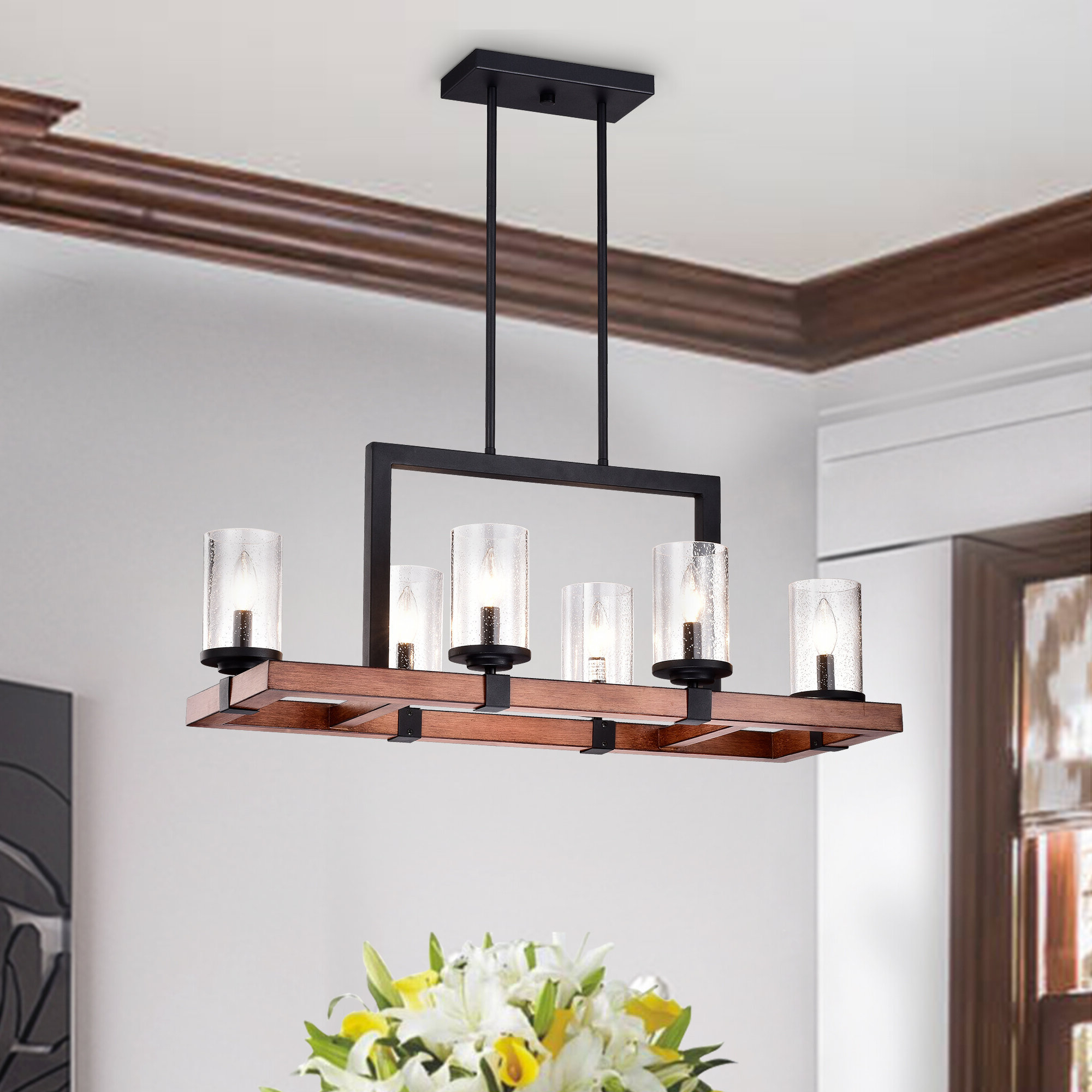 Breakwater Bay Zion 6 Light Kitchen Island Pendant & Reviews With Current Novogratz Vintage 5 Light Kitchen Island Bulb Pendants (View 11 of 25)