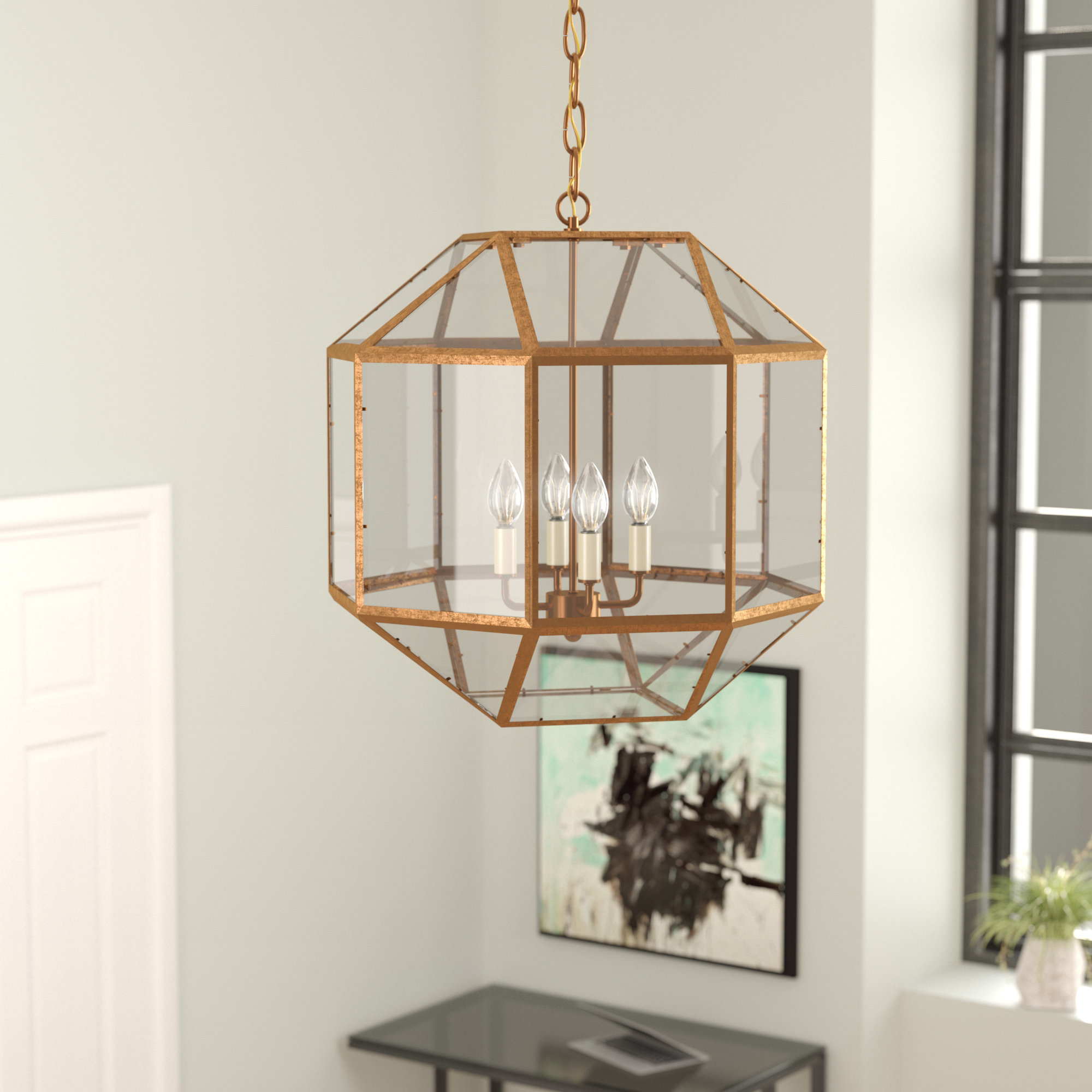 Featured Photo of Tiana 4 Light Geometric Chandeliers