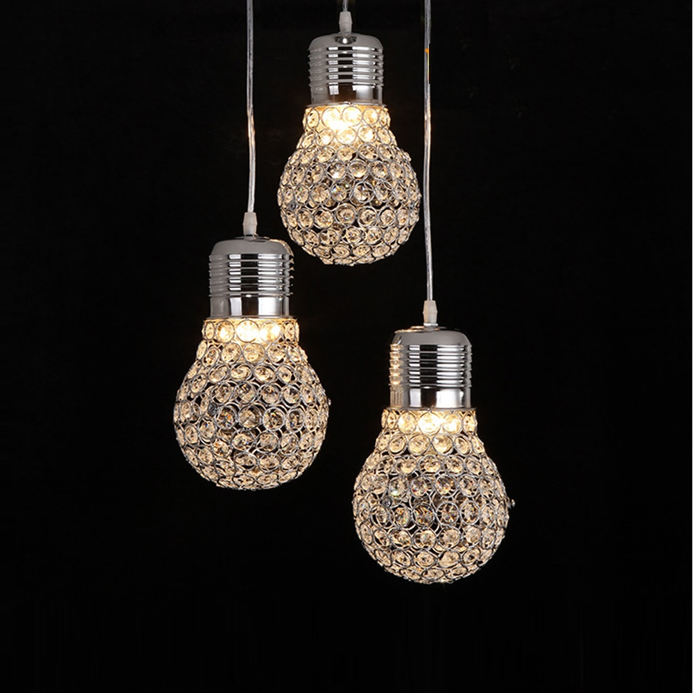Buy Modern Creative Dining Room Crystal Bulb Pendant Lamp With Regard To Fashionable La Sarre 3 Light Globe Chandeliers (View 16 of 25)