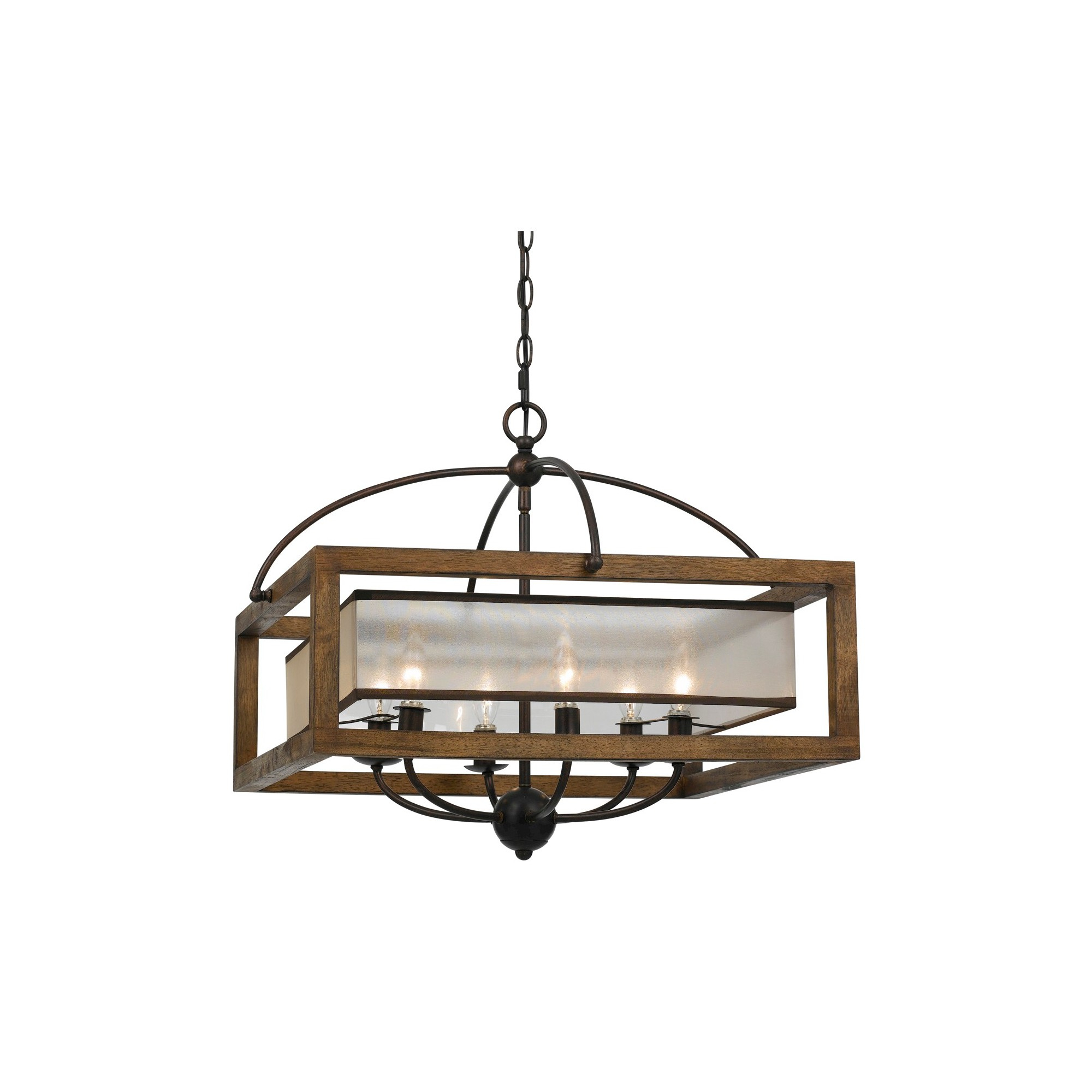 Cal Lighting Mission Wood And Metal 6 Light Pendant Pertaining To Favorite Aadhya 5 Light Drum Chandeliers (View 8 of 25)