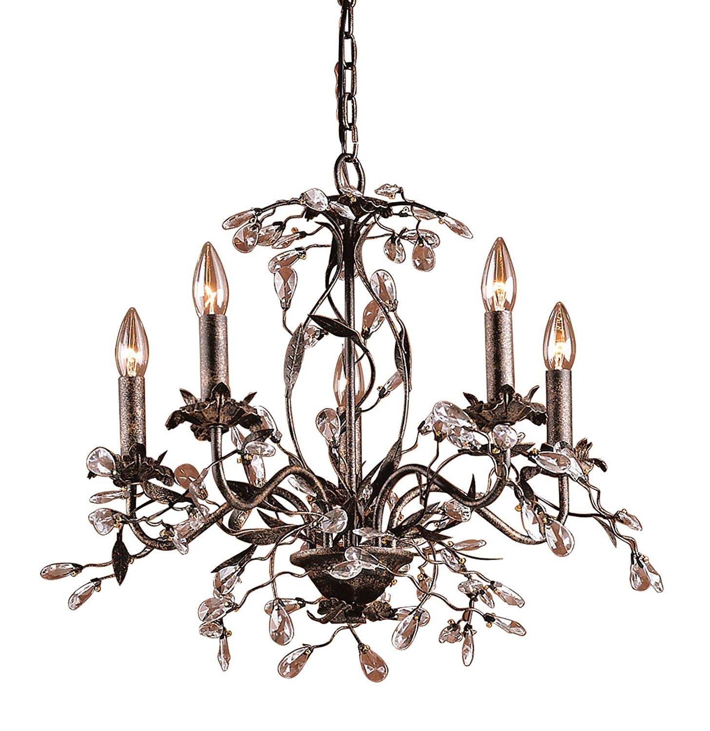 Camilla 9 Light Candle Style Chandeliers Within Best And Newest Elk 8053/5 5 Light Chandelier In Deep Rust And Crystal Droplets (View 8 of 25)