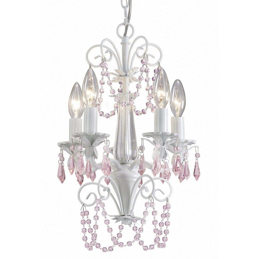 Canarm Danica 12 In 5 Light White Crystal Candle Chandelier For Well Known Aldora 4 Light Candle Style Chandeliers (View 13 of 25)