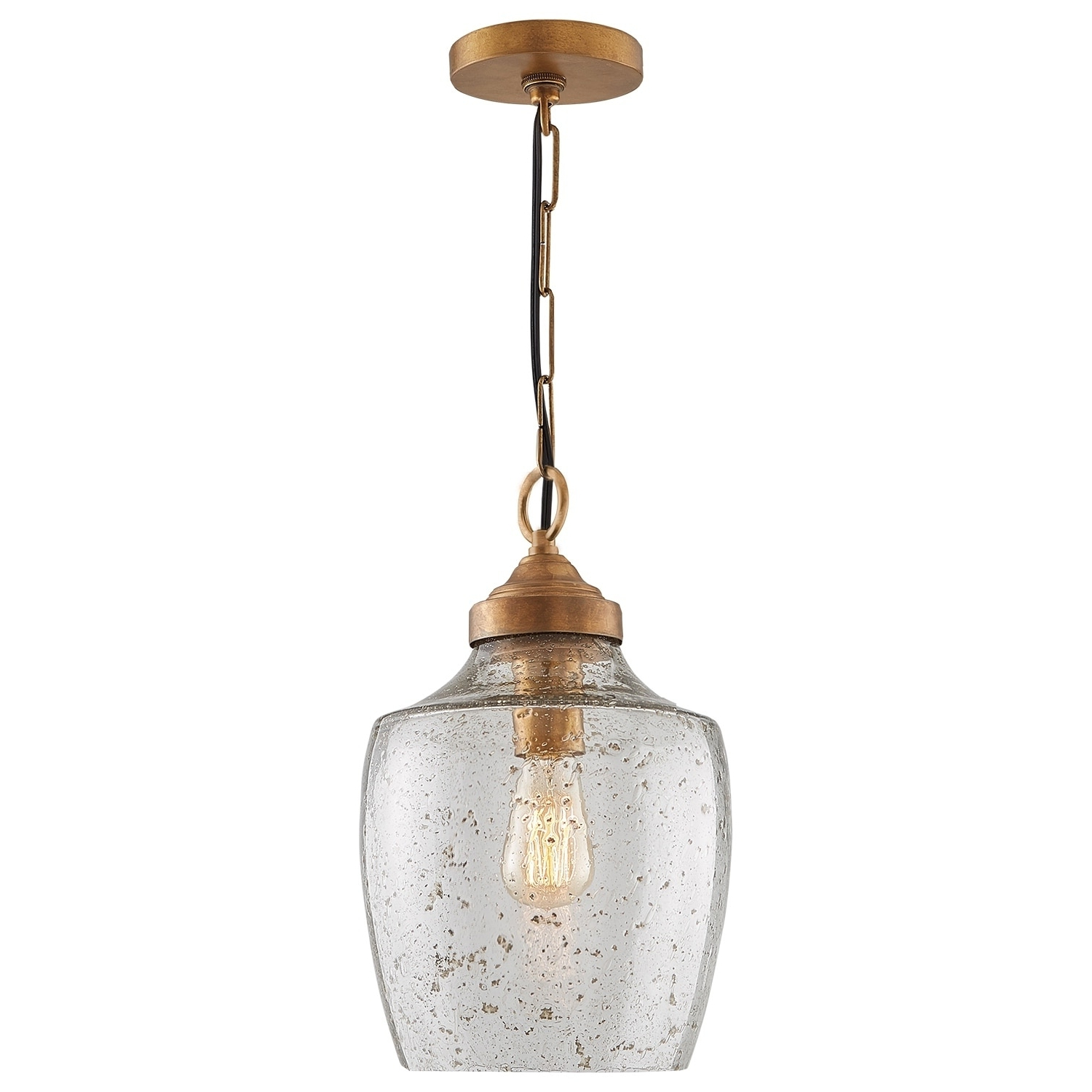 Carey 1 Light Single Bell Pendants With Regard To Favorite Transitional 1 Light Glass Pendant With Rose Brass – Rose (View 9 of 25)