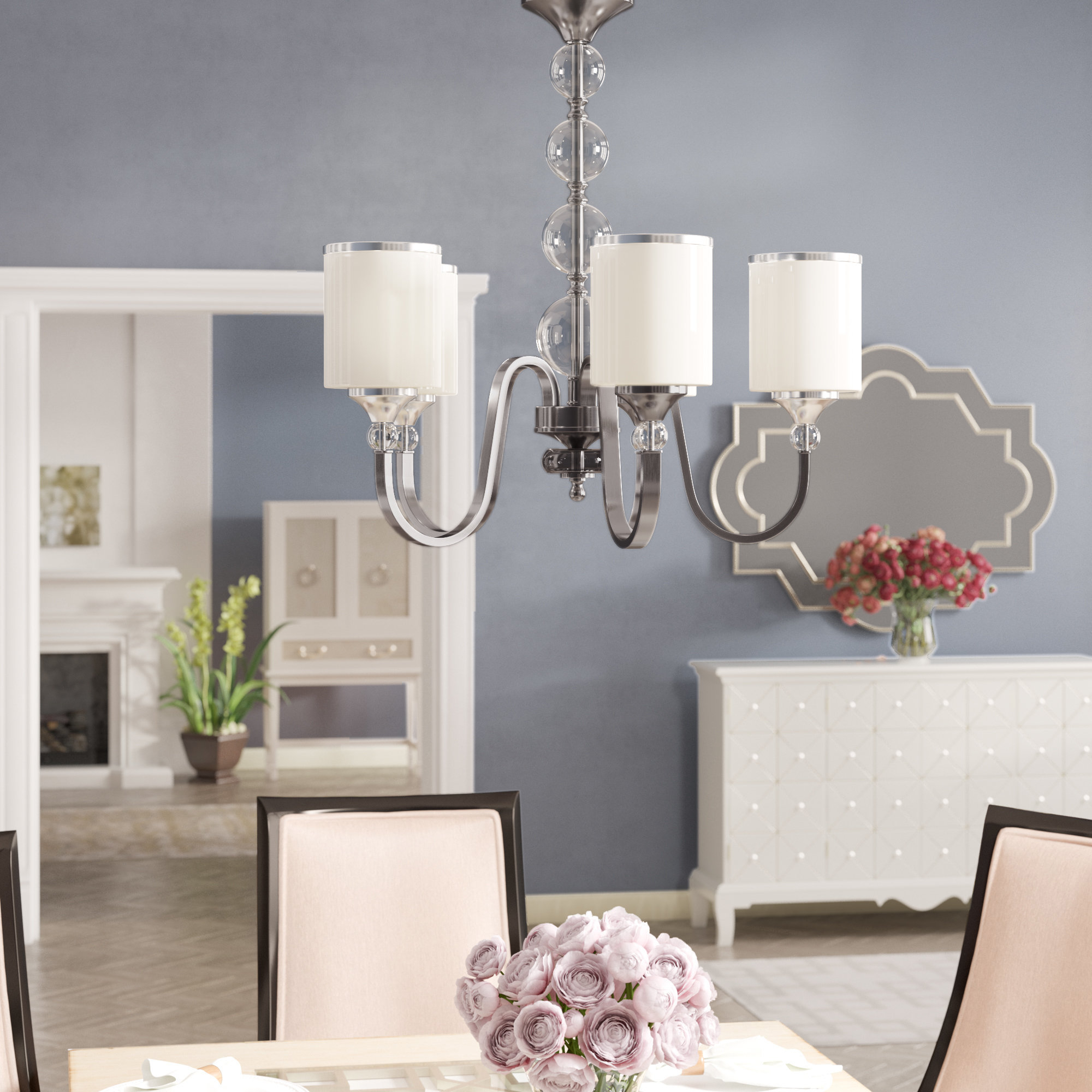Carlitos 5 Light Shaded Chandelier In Best And Newest Corneau 5 Light Chandeliers (View 3 of 25)