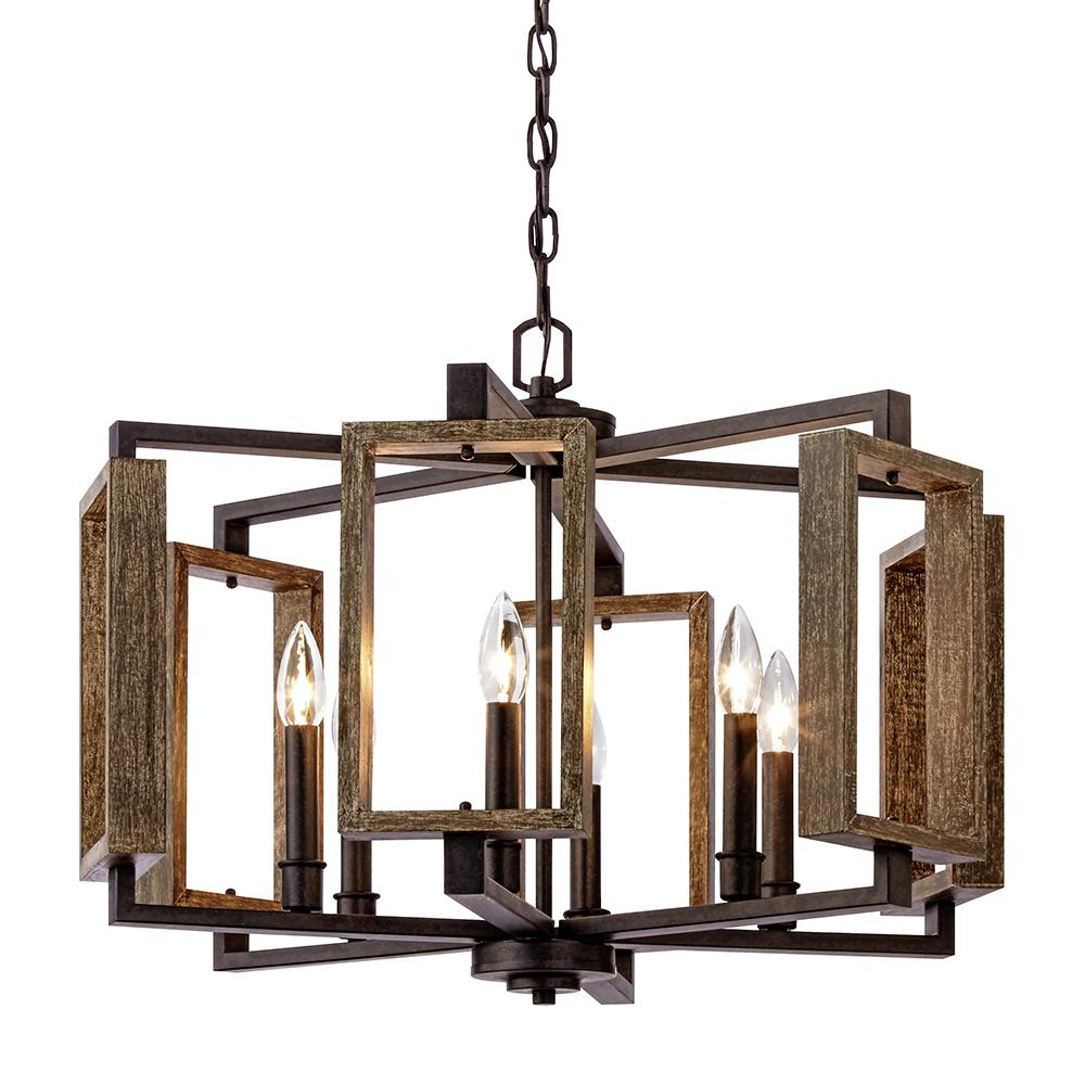 Carmen 6 Light Kitchen Island Linear Pendants Regarding Best And Newest Home Decorators Collection 6 Light Aged Bronze Pendant With Wood Accents (View 20 of 25)
