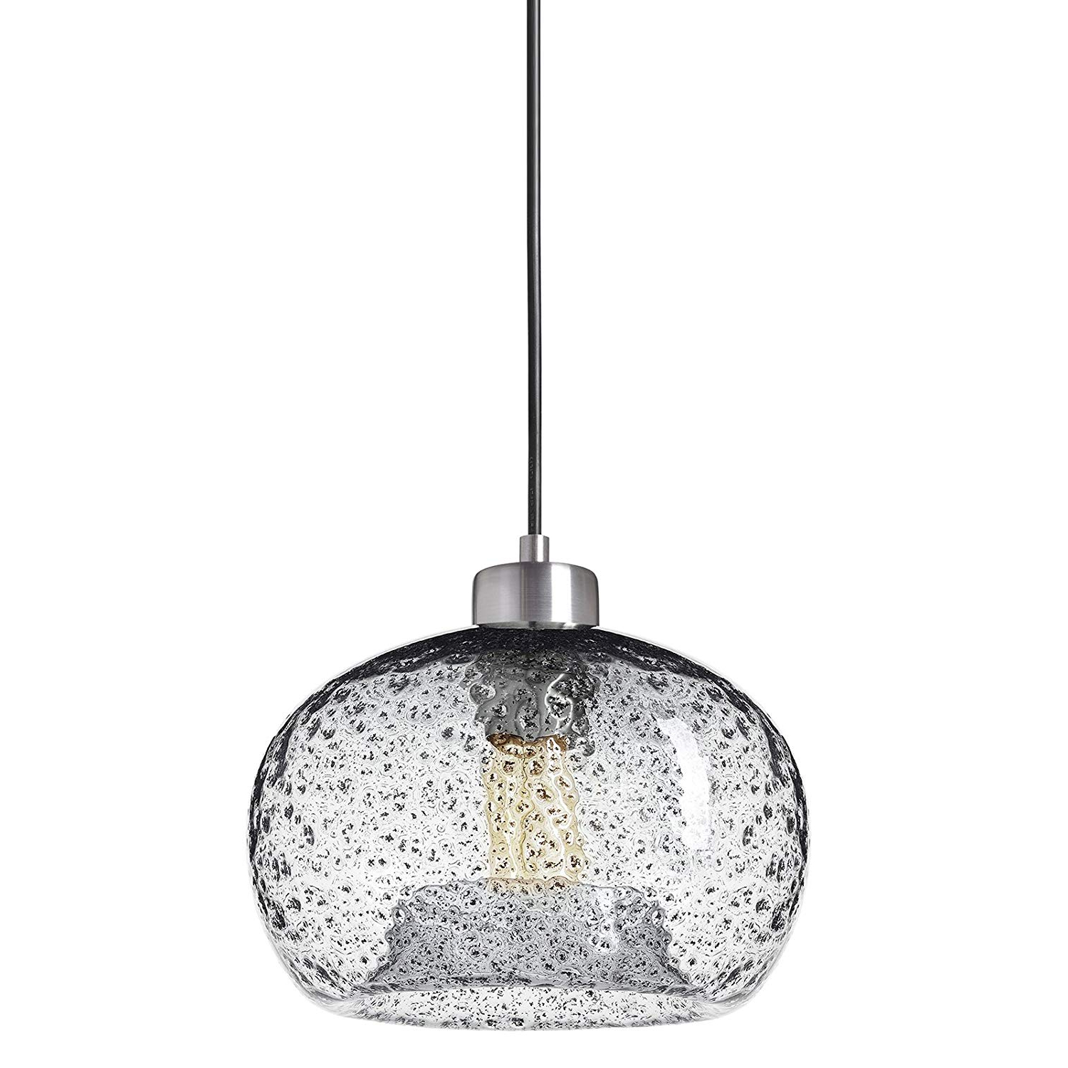 Casamotion Pendant Light Handblown Glass Drop Ceiling Lights, Rustic  Hanging Light Seeded Glass With Black Sand Powder (Brushed Nickel, Clear) Regarding Well Known Granville 2 Light Single Dome Pendants (View 4 of 25)