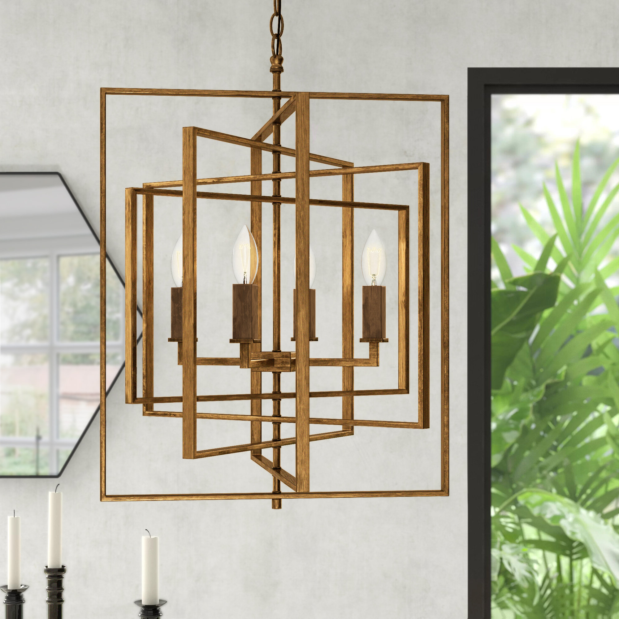 Cavanagh 4 Light Geometric Chandeliers With Regard To Recent Yarnell 4 Light Square/rectangle Chandelier (View 9 of 25)
