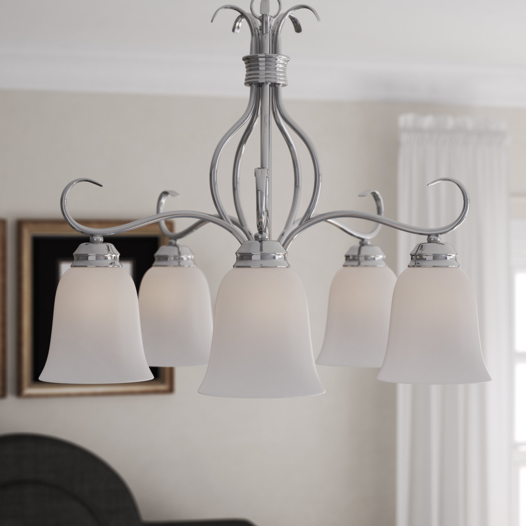 Charlton Home Wehr 5 Light Shaded Chandelier & Reviews Within Most Current Newent 5 Light Shaded Chandeliers (View 2 of 25)