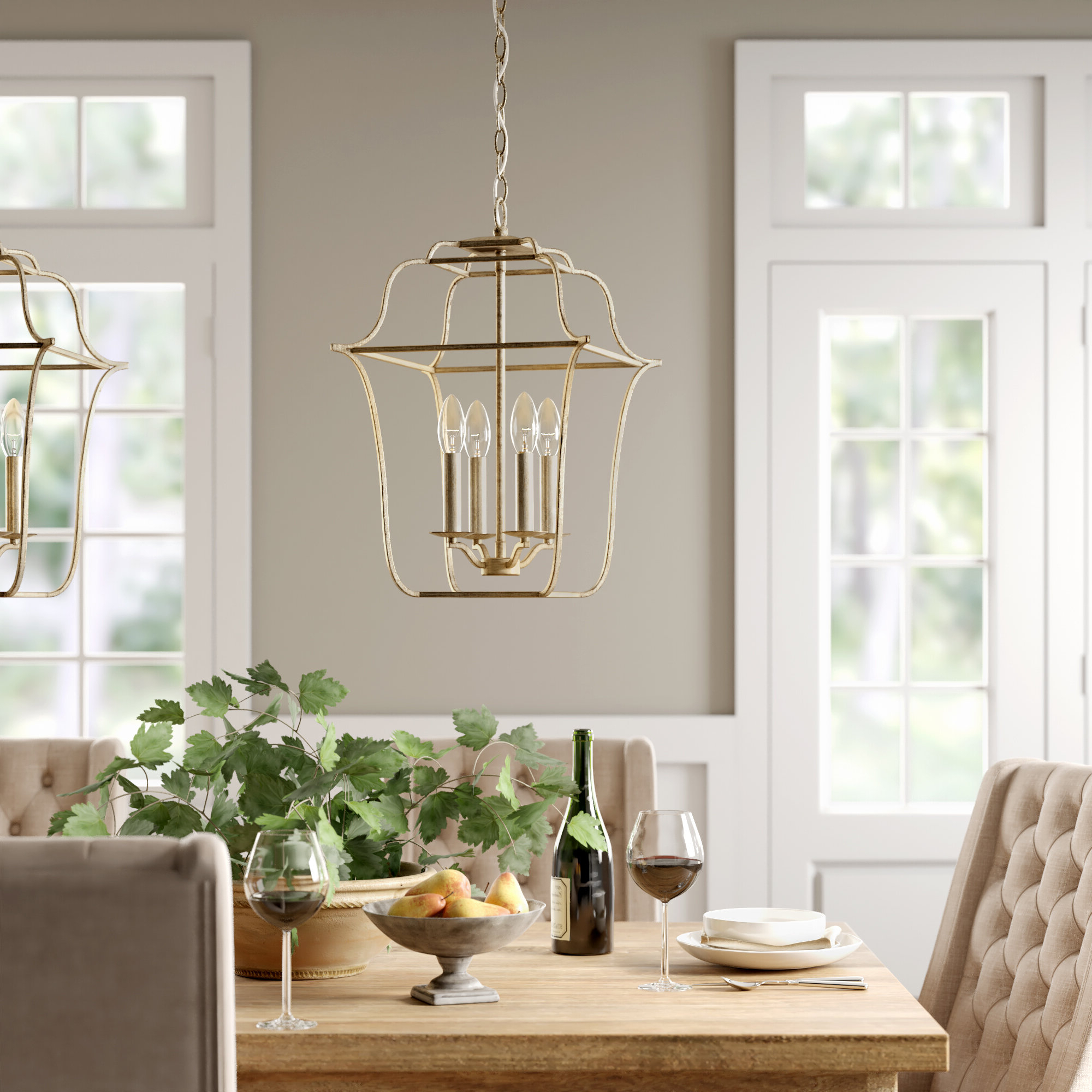 Chloe 4 Light Lantern Geometric Pendant With Most Current Kierra 4 Light Unique / Statement Chandeliers (View 6 of 25)