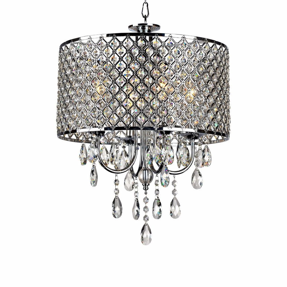 Chrome Crystal Chandelier Dining Room Elegant Round Home Regarding Latest Albano 4 Light Crystal Chandeliers (View 8 of 25)