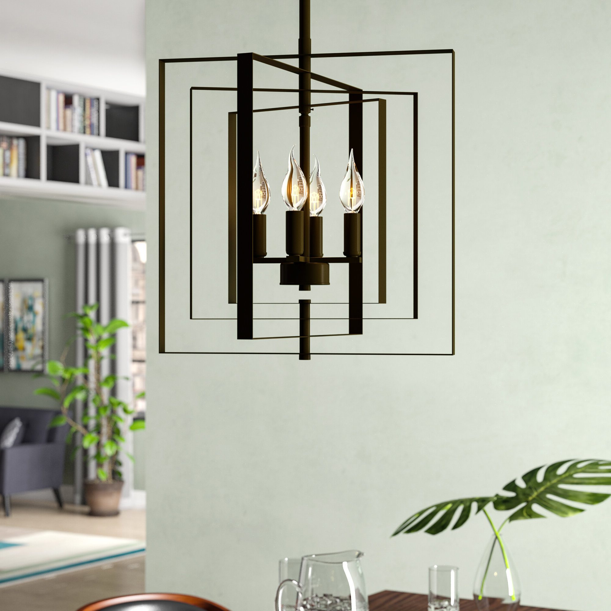 Chun 4 Light Square/rectangle Chandelier With Famous Tabit 5 Light Geometric Chandeliers (View 20 of 25)