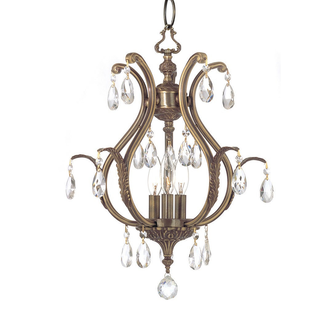 Clea 3 Light Crystal Chandeliers Pertaining To Latest Crystorama Dawson Collection 3 Light Antique Brass/crystal Mini Chandelier (View 3 of 25)