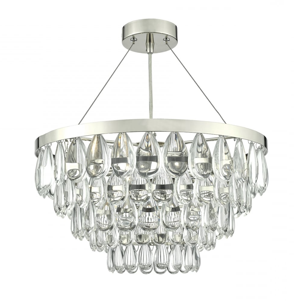 Clea 3 Light Crystal Chandeliers Throughout Best And Newest Sceptre Polished Chrome And Clear Droplet 3 Light Pendant (View 12 of 25)