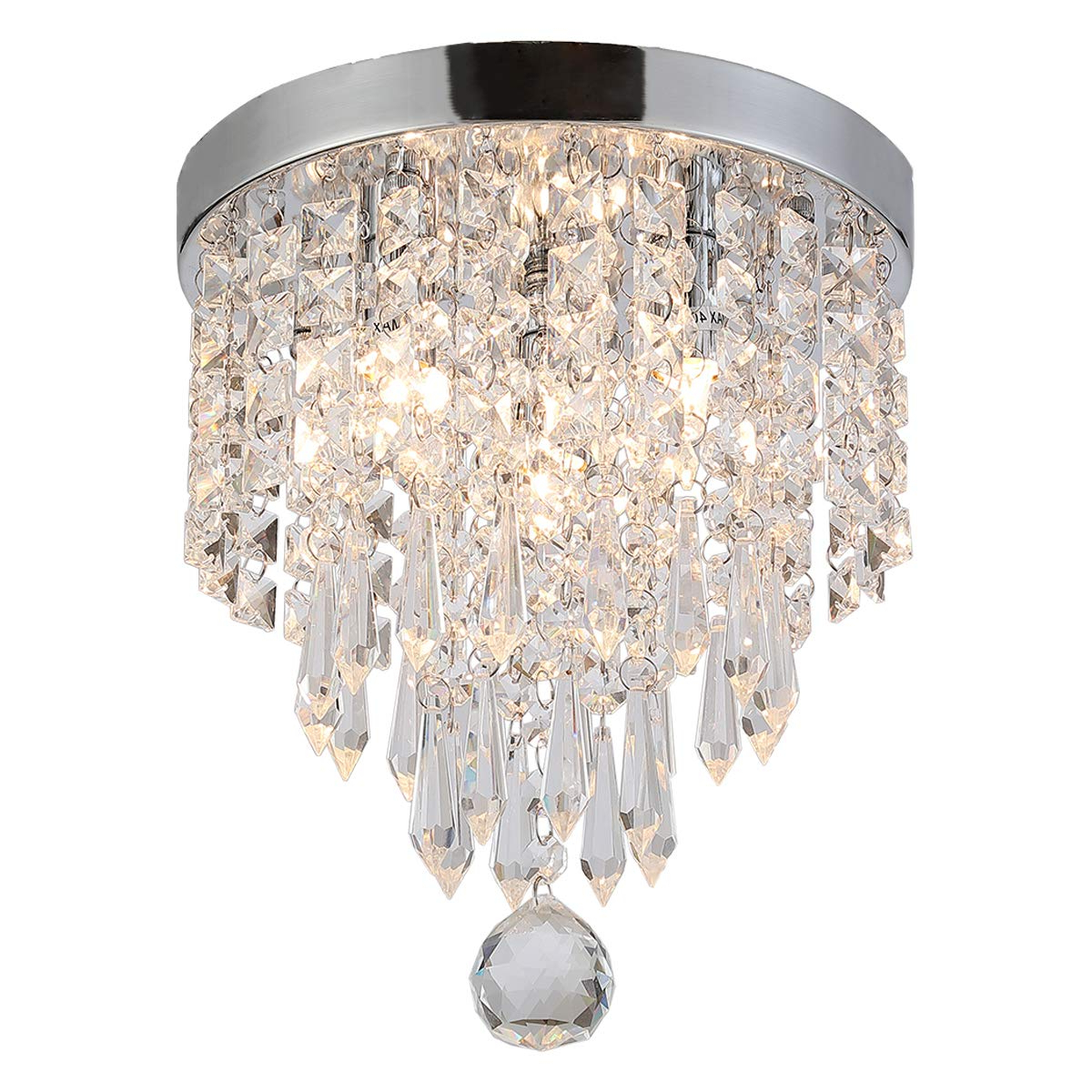 Clea 3 Light Crystal Chandeliers With Regard To Popular Riomasee Crystal Ceiling Light Mini Chandelier Elegant Design Modern  Chandeliers 3 Light Flush Mount Fixtures For Bedroom,hallway,living (View 5 of 25)