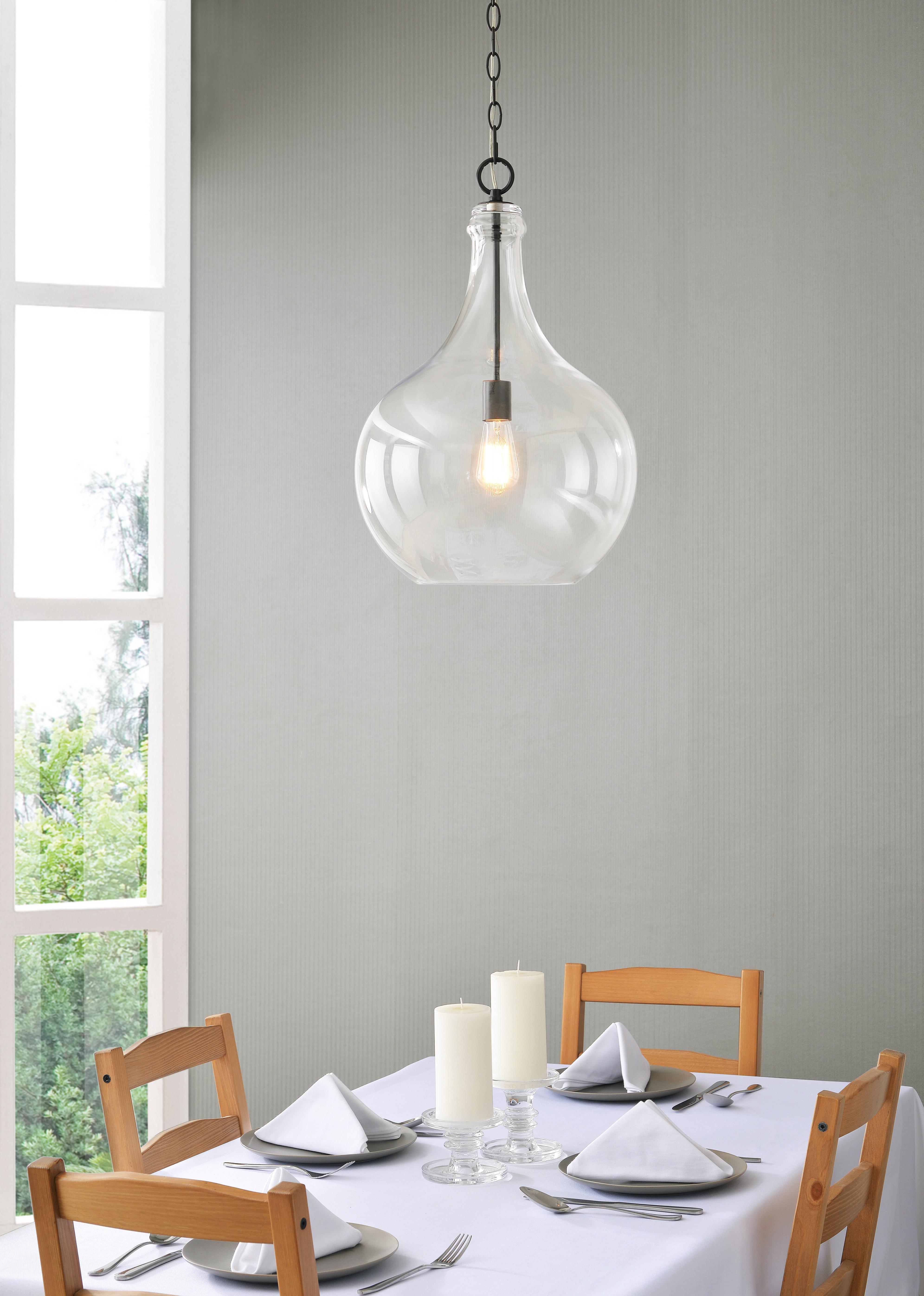 Clematite 1 Light Single Jar Pendants Throughout 2020 Bustillos 1 Light Single Globe Pendant (View 7 of 25)