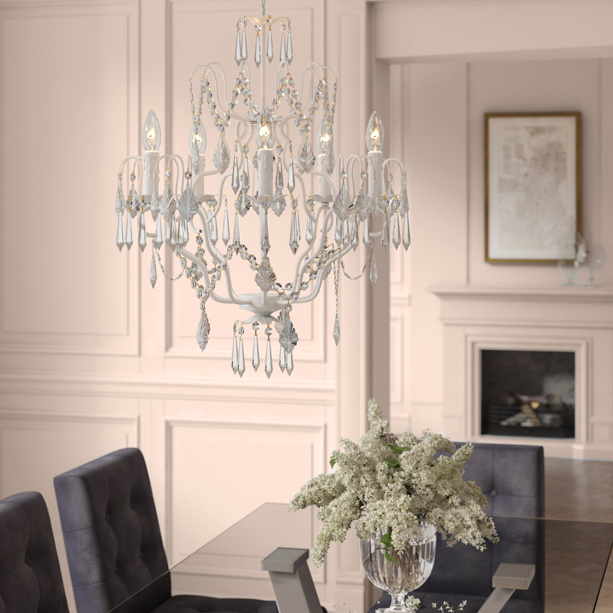 Clemence 5 Light Candle Style Chandelier Intended For Well Known Hesse 5 Light Candle Style Chandeliers (View 4 of 25)