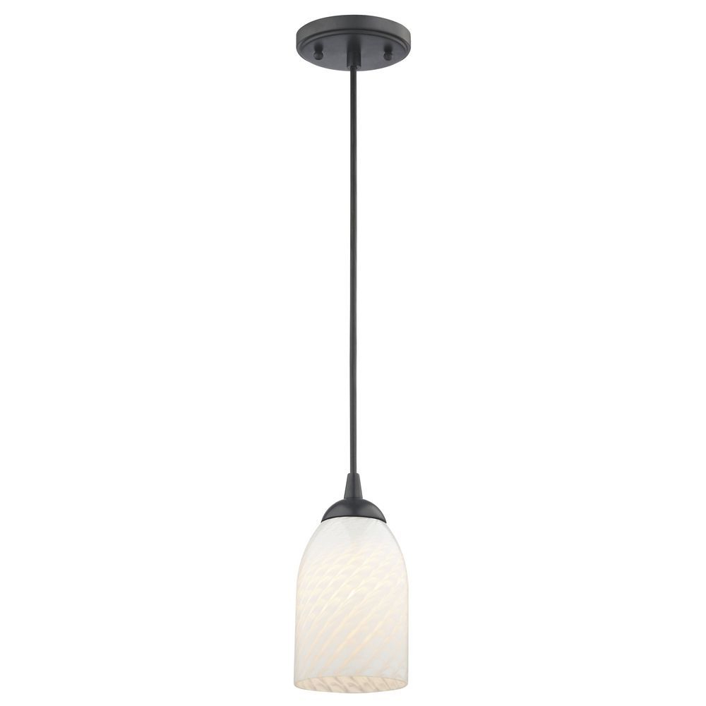 Contemporary Black Mini Pendant Light With White Scalloped Within Current Abernathy 1 Light Dome Pendants (View 8 of 25)