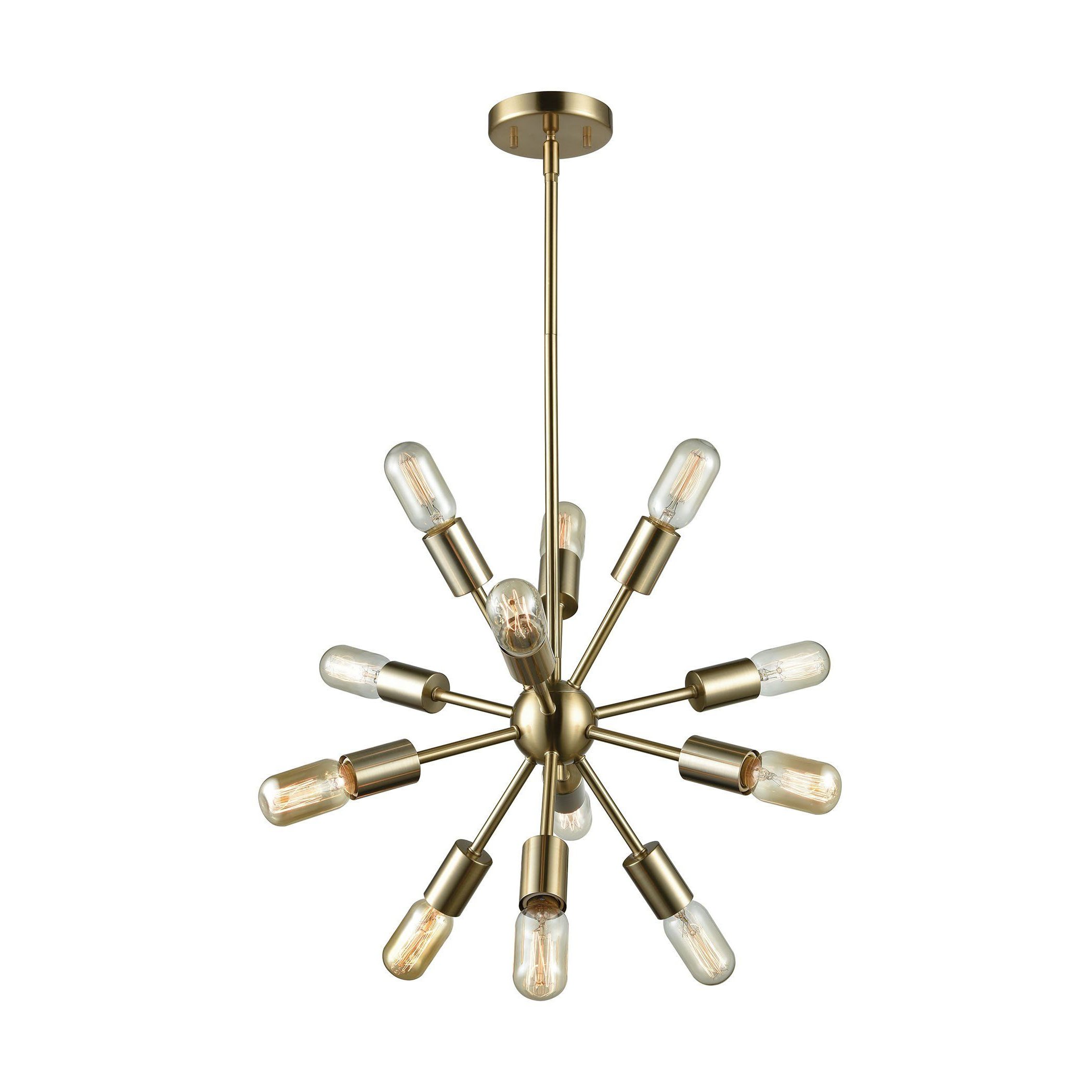 Corona 12 Light Sputnik Chandeliers Throughout Best And Newest Delphine 12 Light Chandelier In Satin Brass (View 10 of 25)