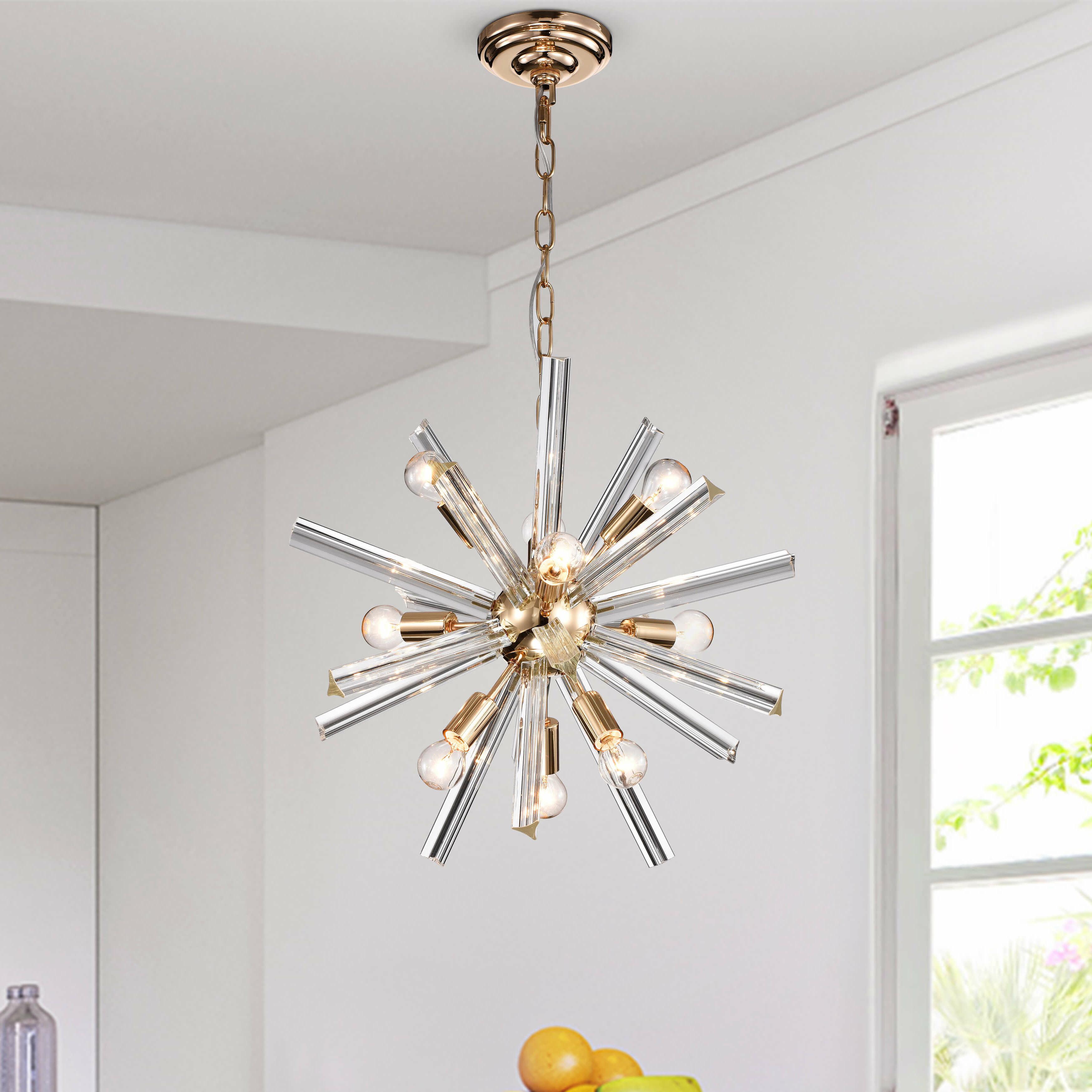 Corona 12 Light Sputnik Chandeliers Throughout Newest Everly Quinn Gwinnett Glass Bar 9 Light Sputnik Chandelier (View 11 of 25)
