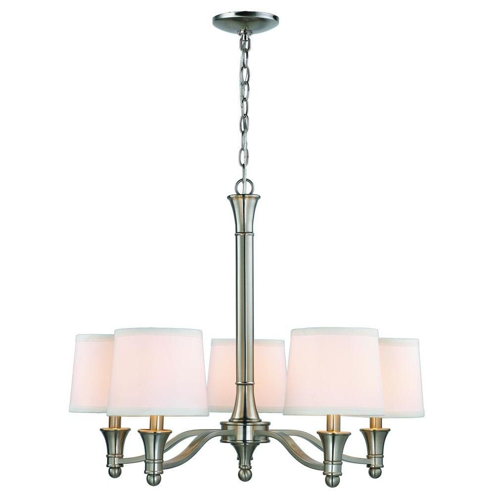 Crofoot 5 Light Shaded Chandeliers Pertaining To Well Known Hampton Bay 5 Light Brushed Nickel Chandelier With White (View 18 of 25)