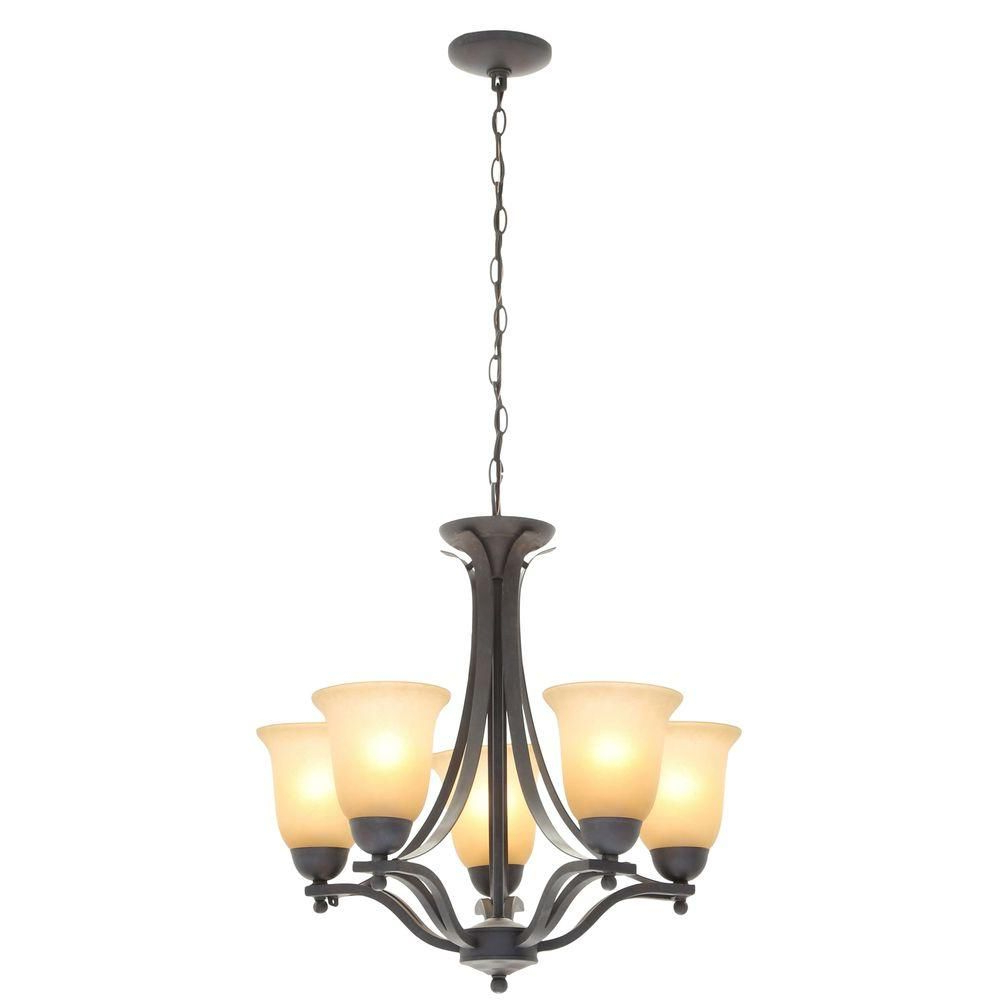 Crofoot 5 Light Shaded Chandeliers With Regard To Best And Newest Commercial Electric 5 Light Rustic Iron Chandelier With (View 9 of 25)