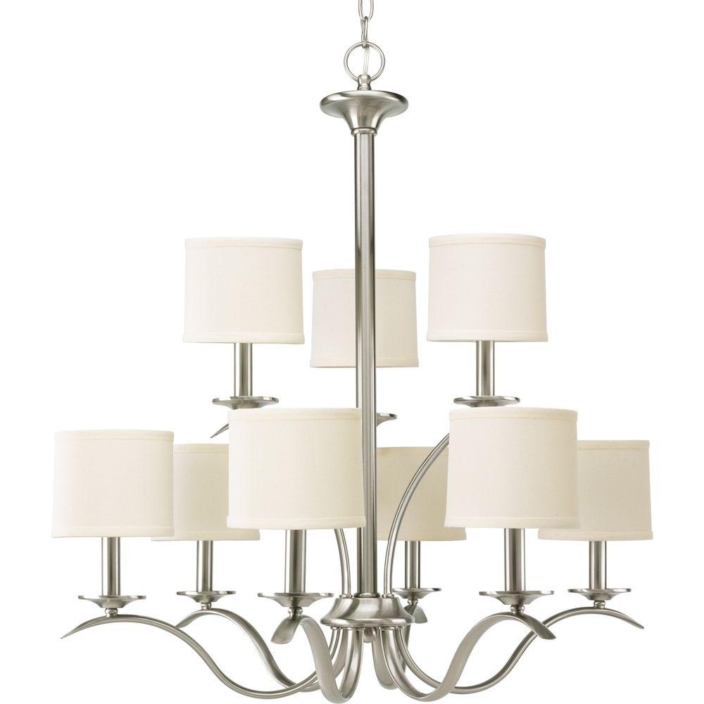 Crofoot 5 Light Shaded Chandeliers Within 2020 Progress Lighting Inspire Collection 5 Light Brushed Nickel Chandelier With  Beige Linen Shade (View 11 of 25)