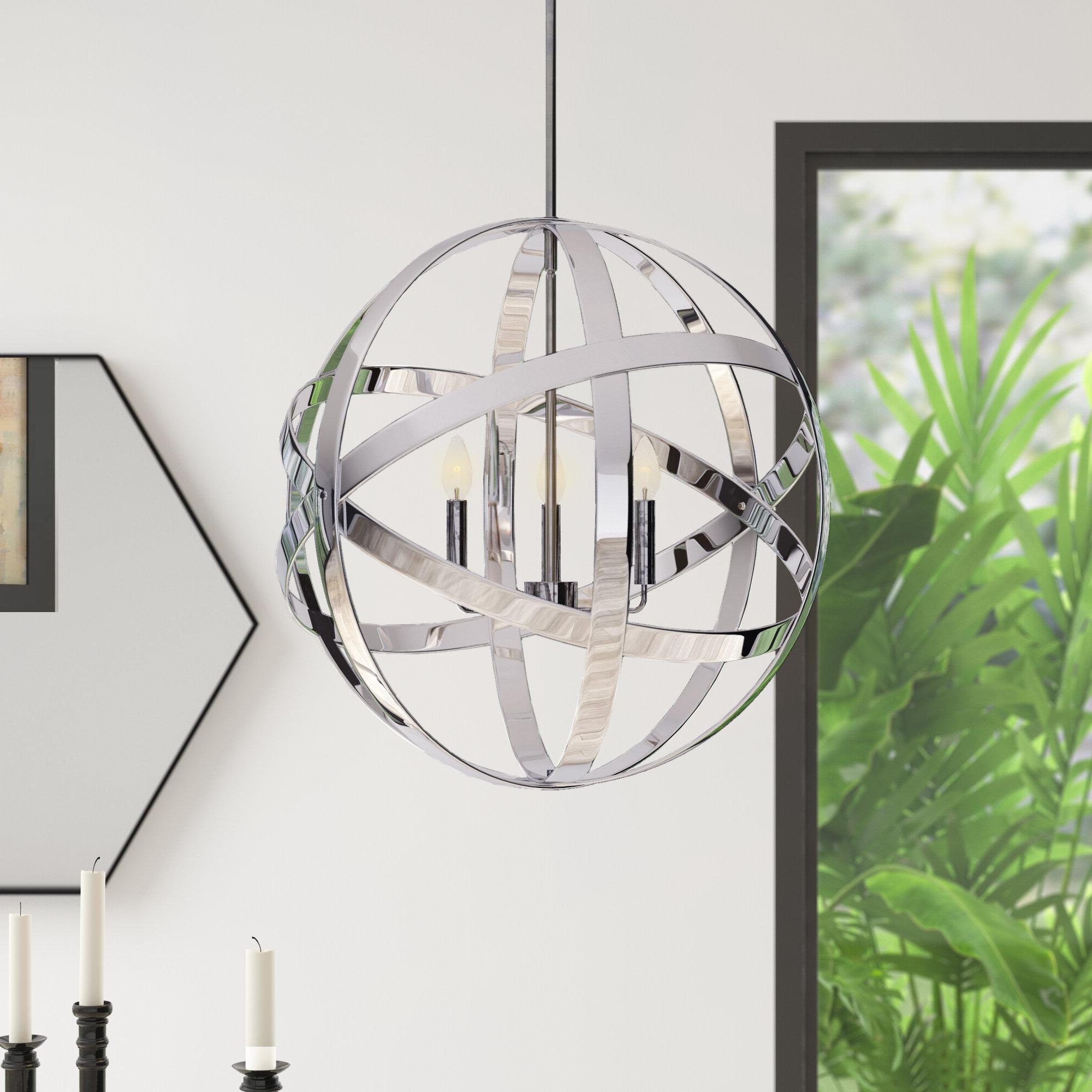 Curcio 3 Light Globe Chandelier For 2020 Adcock 3 Light Single Globe Pendants (View 9 of 25)