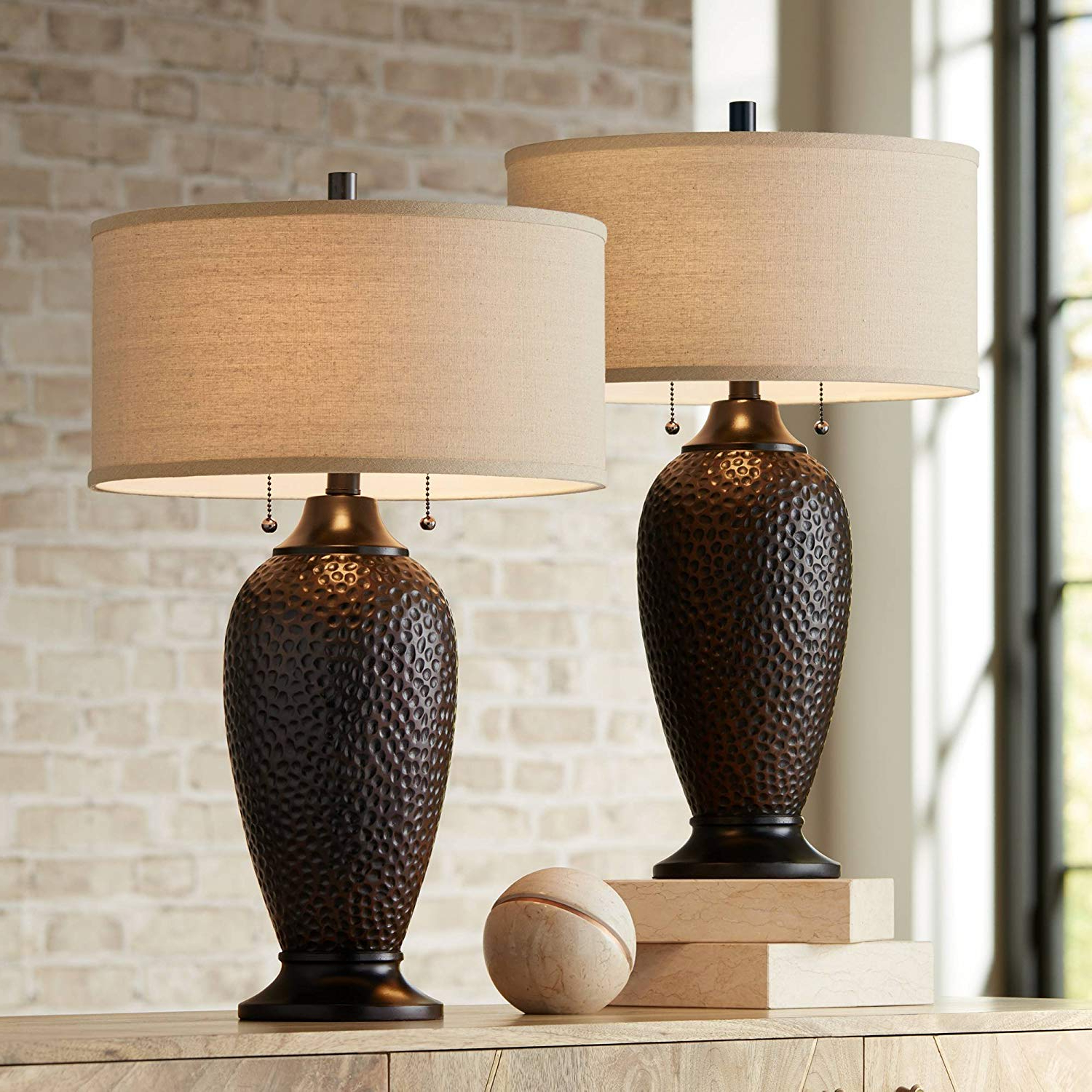 Current Abel 5 Light Drum Chandeliers Within Cody Modern Table Lamps Set Of 2 Hammered Oiled Bronze Oatmeal Linen Drum  Shade For Living Room Family Bedroom Office – 360 Lighting (View 12 of 25)