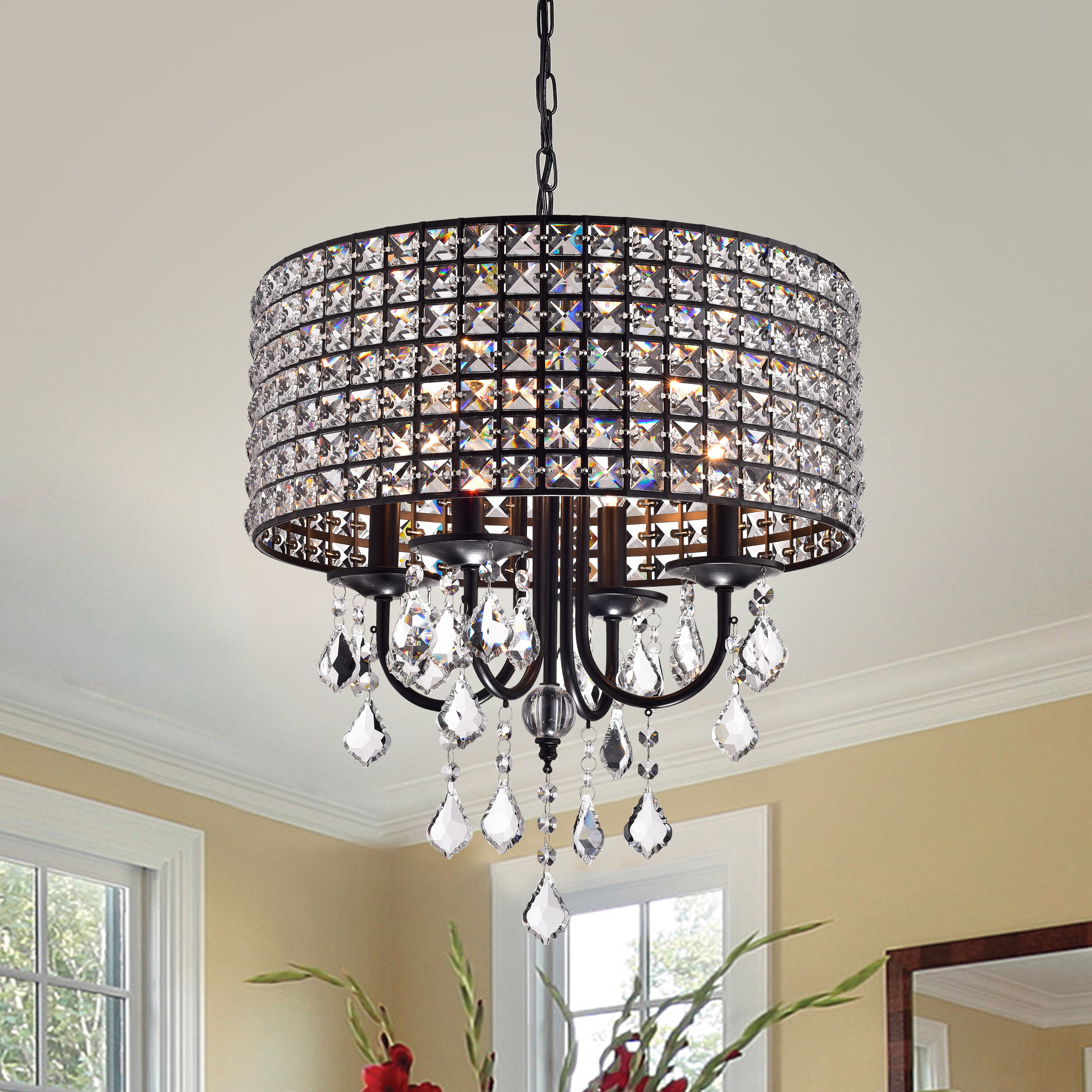 Current Albano 4 Light Crystal Chandelier With Regard To Gisselle 4 Light Drum Chandeliers (View 15 of 25)