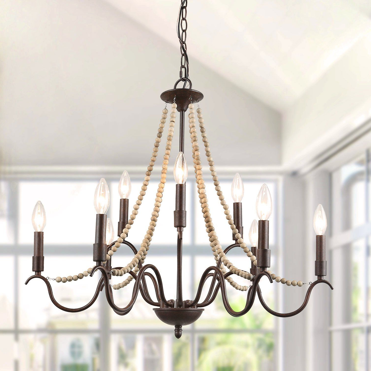Current Duron 5 Light Empire Chandeliers Throughout Lnc Chandeliers French Country Wood Bead Candle Style (View 15 of 25)