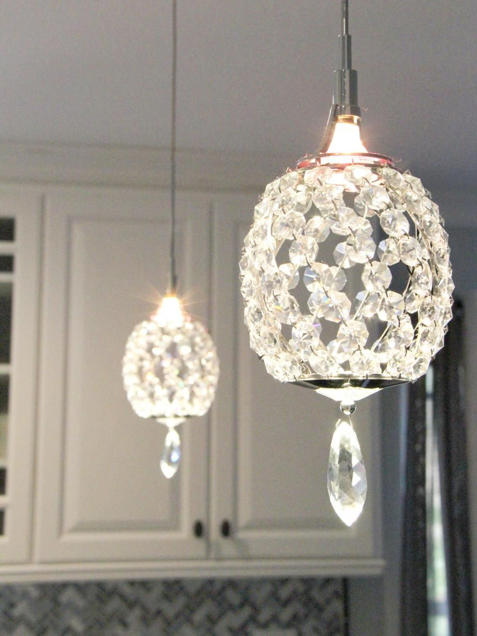 Current Edmundo 1 Light Unique / Statement Geometric Pendants With Regard To Crystal Pendant Lights Over A Peninsula Bring A Touch Of (View 9 of 25)