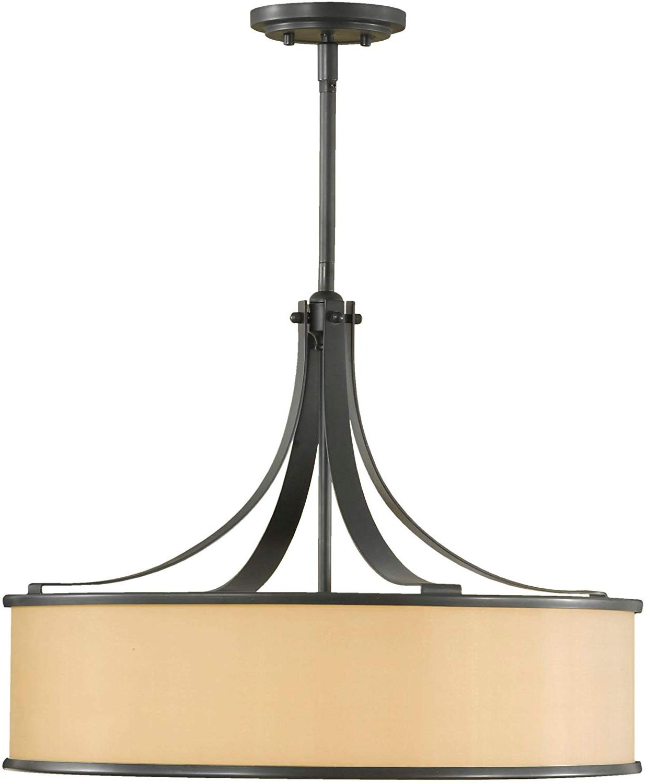 "Current Feiss F2343/4Dbz Casual Luxury Glass Drum Pendant Lighting, Bronze, 4 Light  (23""dia X 18""h) 400Watts Regarding Dailey 4 Light Drum Chandeliers (View 13 of 25)"