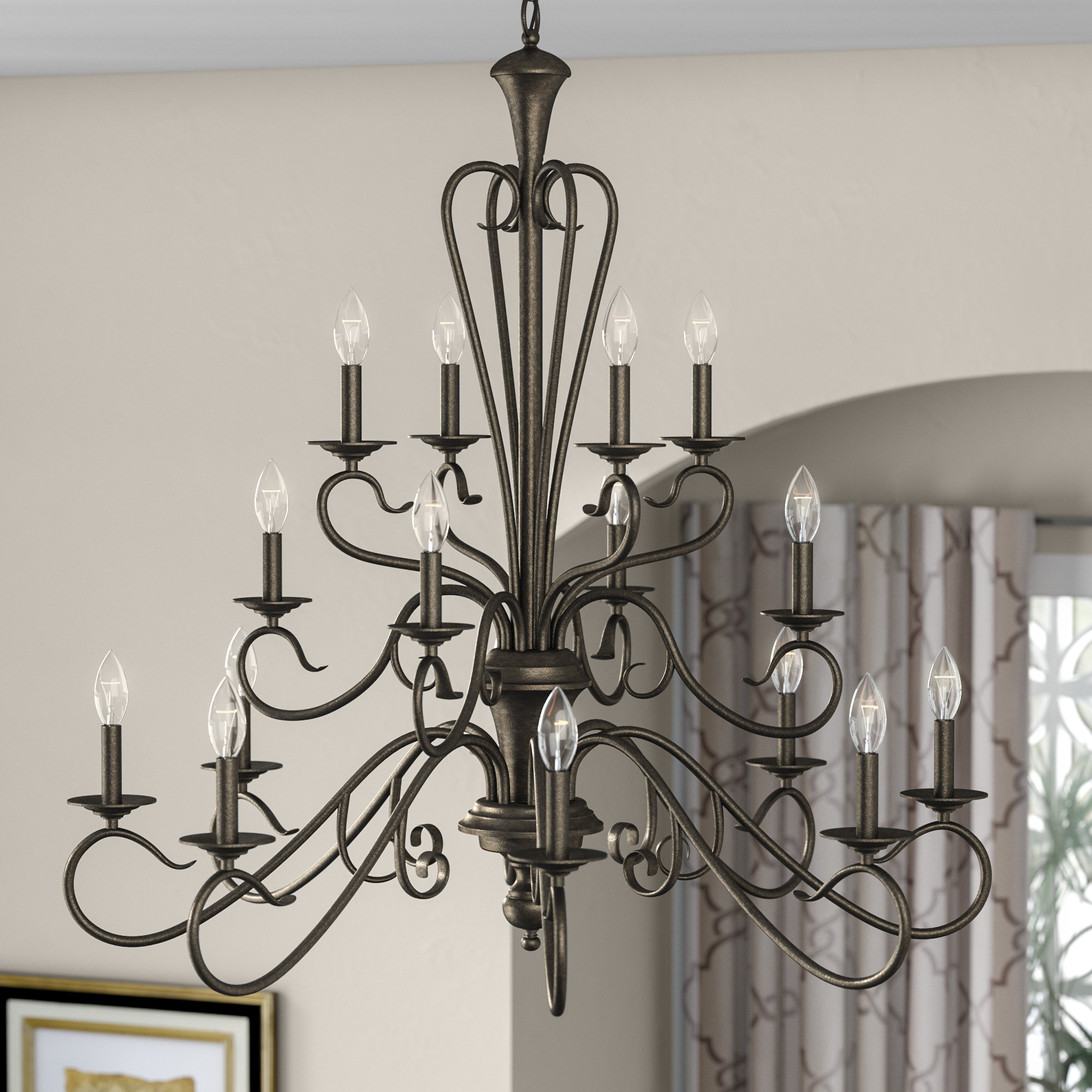 Current Gaines 9 Light Candle Style Chandeliers Within Birchview 16 Light Candle Style Chandelier (View 4 of 25)