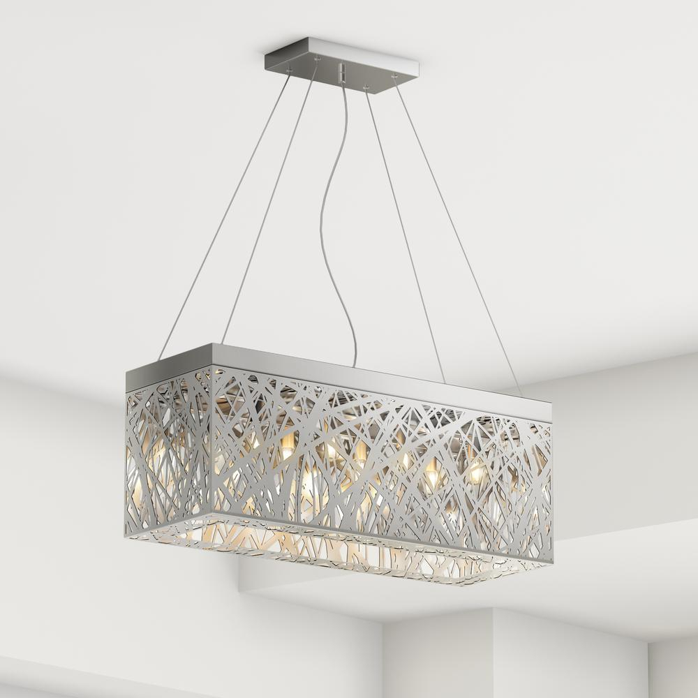 Current Gracelyn 8 Light Kitchen Island Pendants With Layla 8 Light Chrome Indoor Crystal Rectangular Pendant (View 10 of 25)