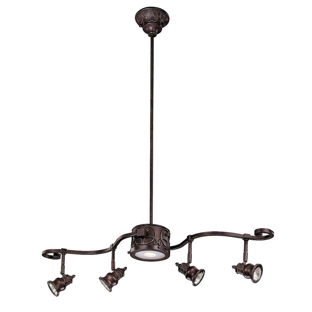 Current Hampton Bay Kara 5 Light Bronze Track Lighting Within Smithville 4 Light Kitchen Island Pendants (View 18 of 25)