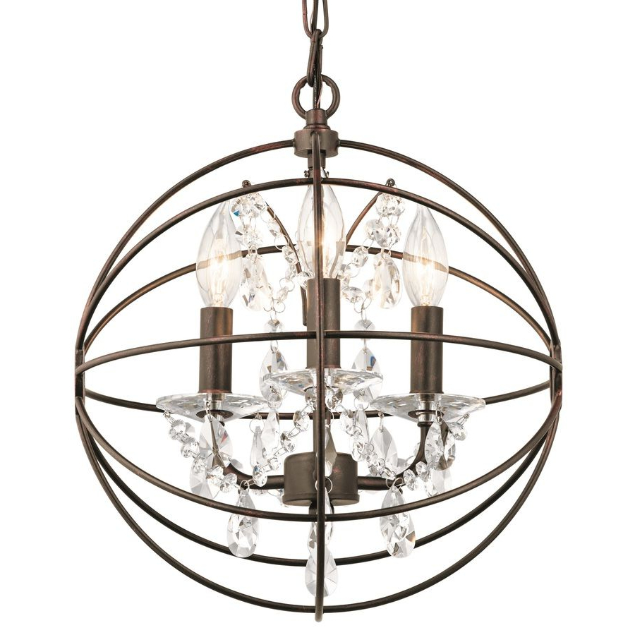 Current Kichler Vivian 13 In Coffee With Copper Highlights Crystal With Alden 3 Light Single Globe Pendants (View 13 of 25)