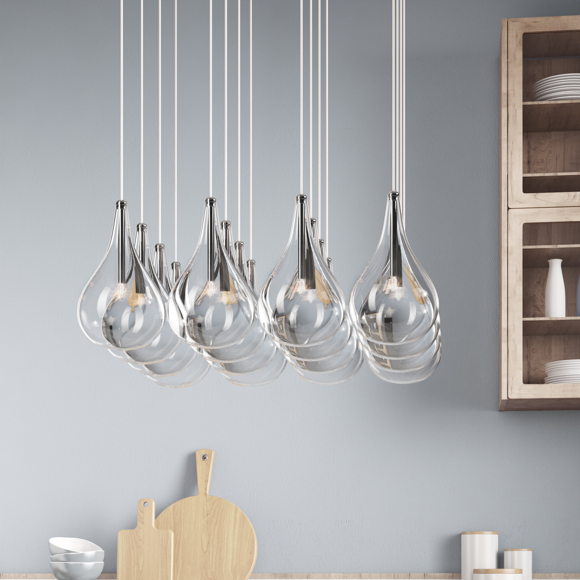 Current Neal 5 Light Kitchen Island Teardrop Pendants Pertaining To Neal 16 Light Kitchen Island Pendant (View 15 of 25)