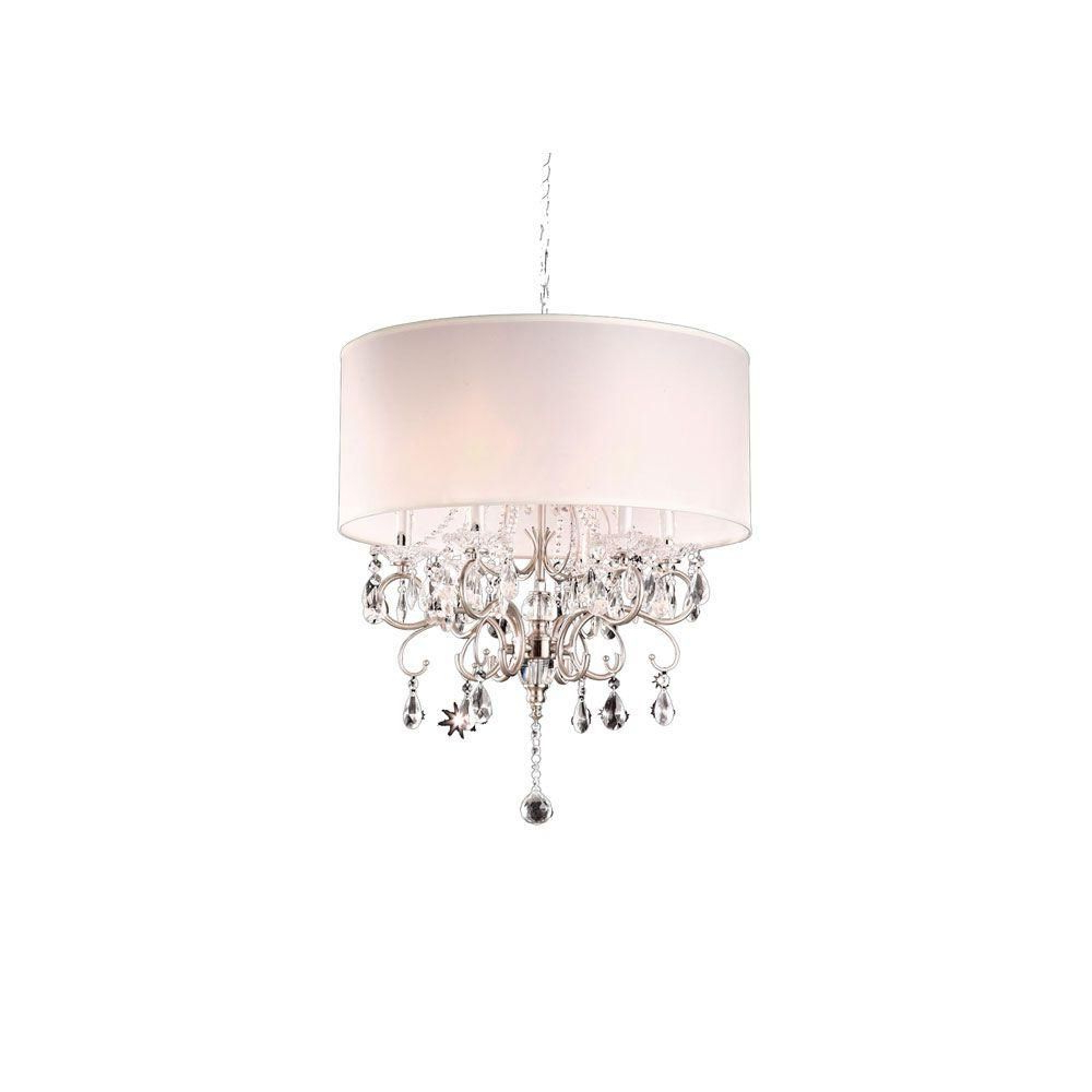 Current Ok Lighting 6 Light Silver Crystal Chandelier Ok 5109H – The Inside Lindsey 4 Light Drum Chandeliers (View 16 of 25)