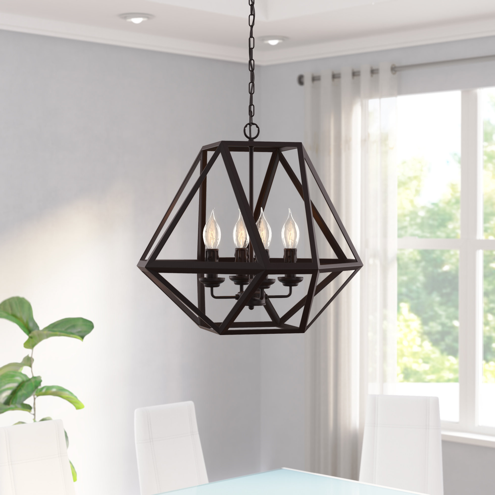 Current Wrought Studio Falcon 4 Light Geometric Chandelier With Regard To Kaycee 4 Light Geometric Chandeliers (View 5 of 25)