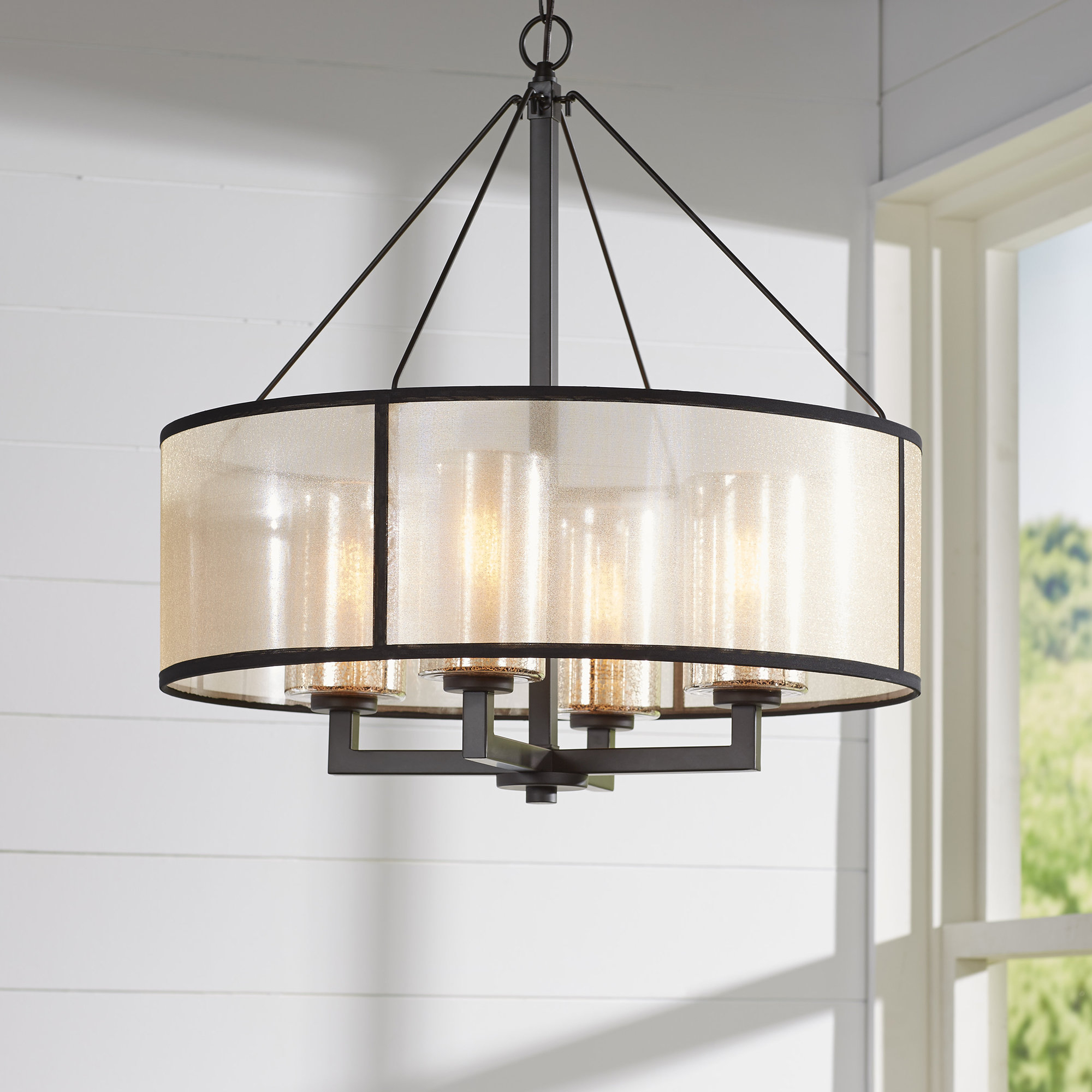 Dailey 4-Light Drum Chandelier with Famous Breithaup 4-Light Drum Chandeliers