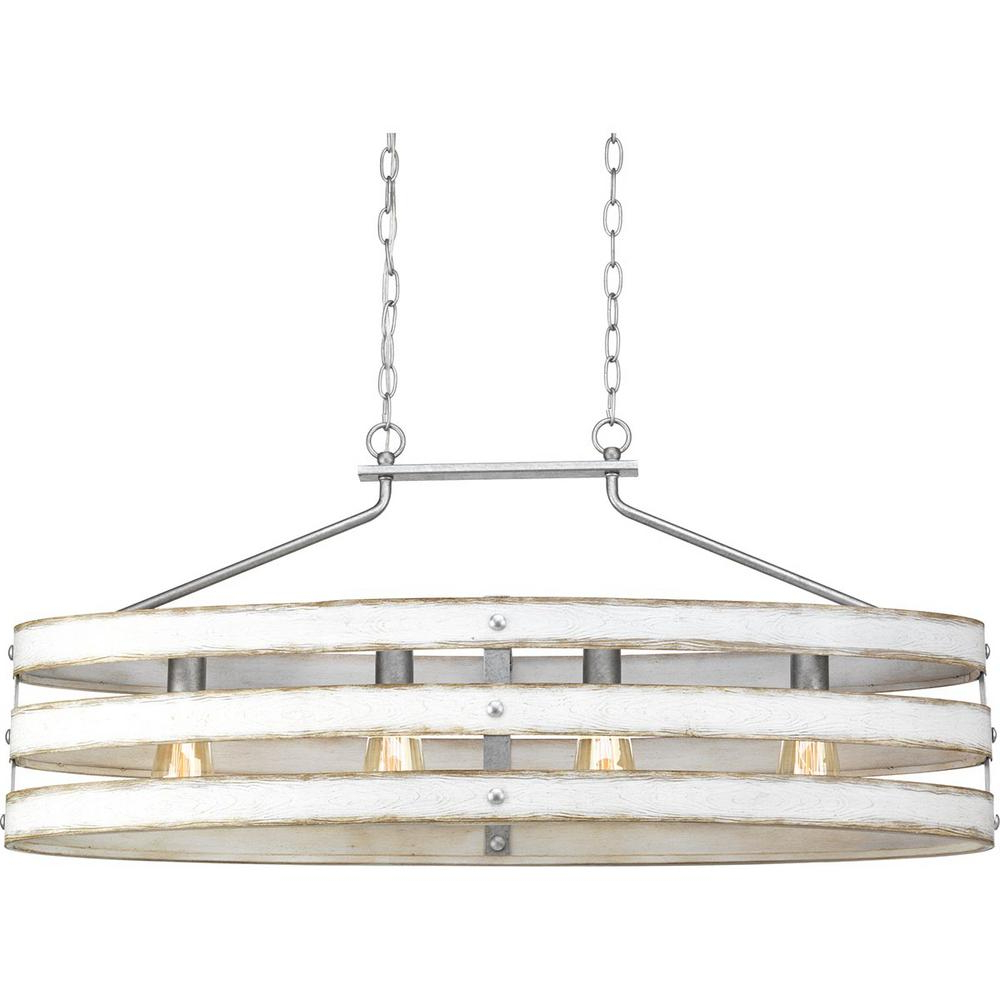 Dailey 4-Light Drum Chandeliers inside Current Progress Lighting Gulliver 4-Light Galvanized Island Chandelier With  Weathered White Wood Accents
