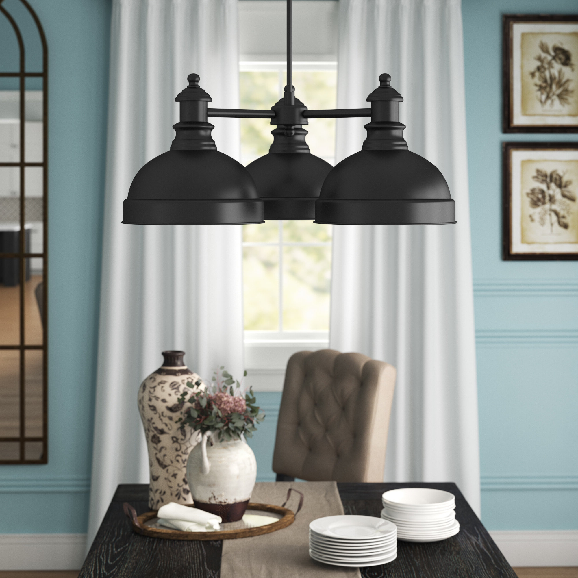 Dasent 3-Light Shaded Chandelier with Favorite Alayna 4-Light Shaded Chandeliers