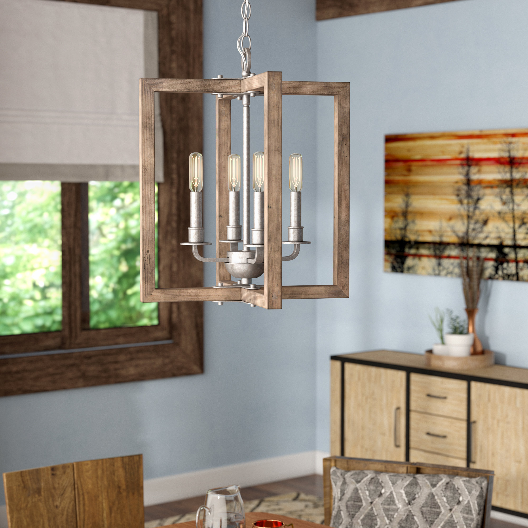 Daugherty 4-Light Square/rectangle Chandelier in Most Up-to-Date William 4-Light Lantern Square / Rectangle Pendants