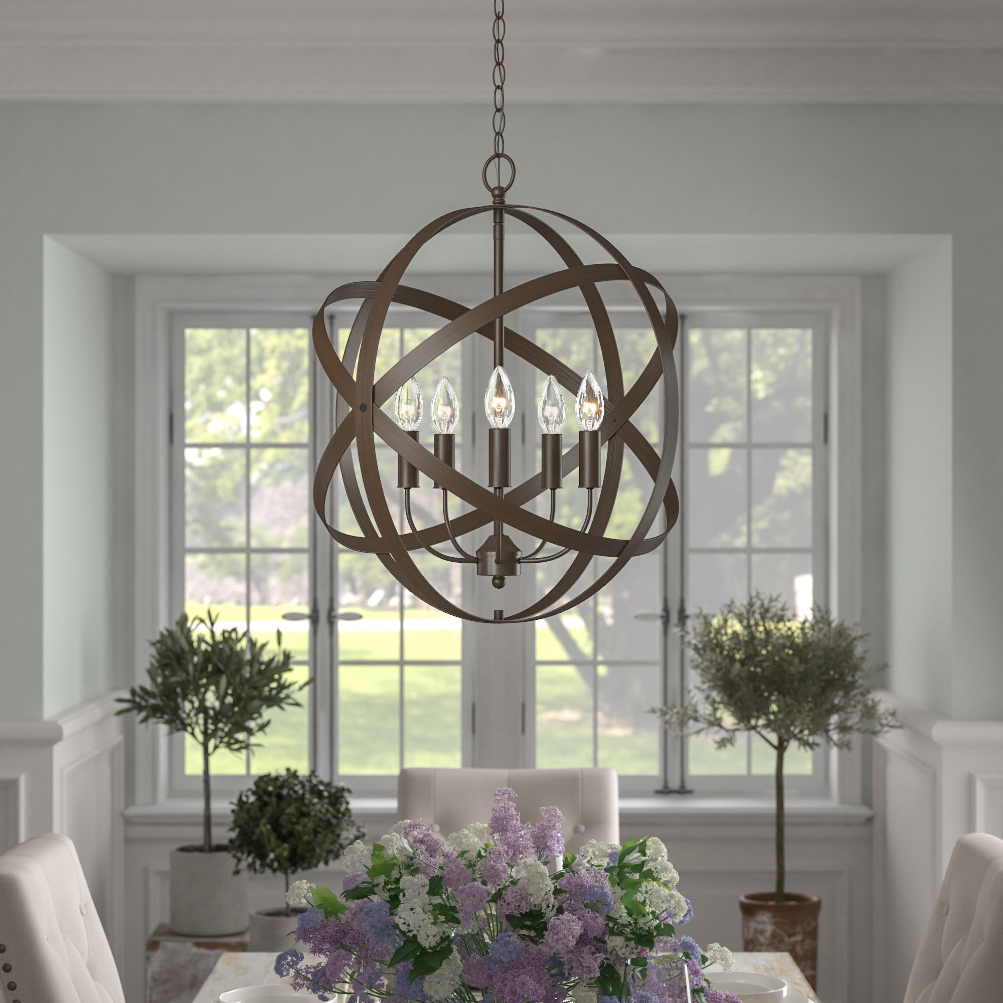 Della 5-Light Globe Chandelier for Popular Waldron 5-Light Globe Chandeliers